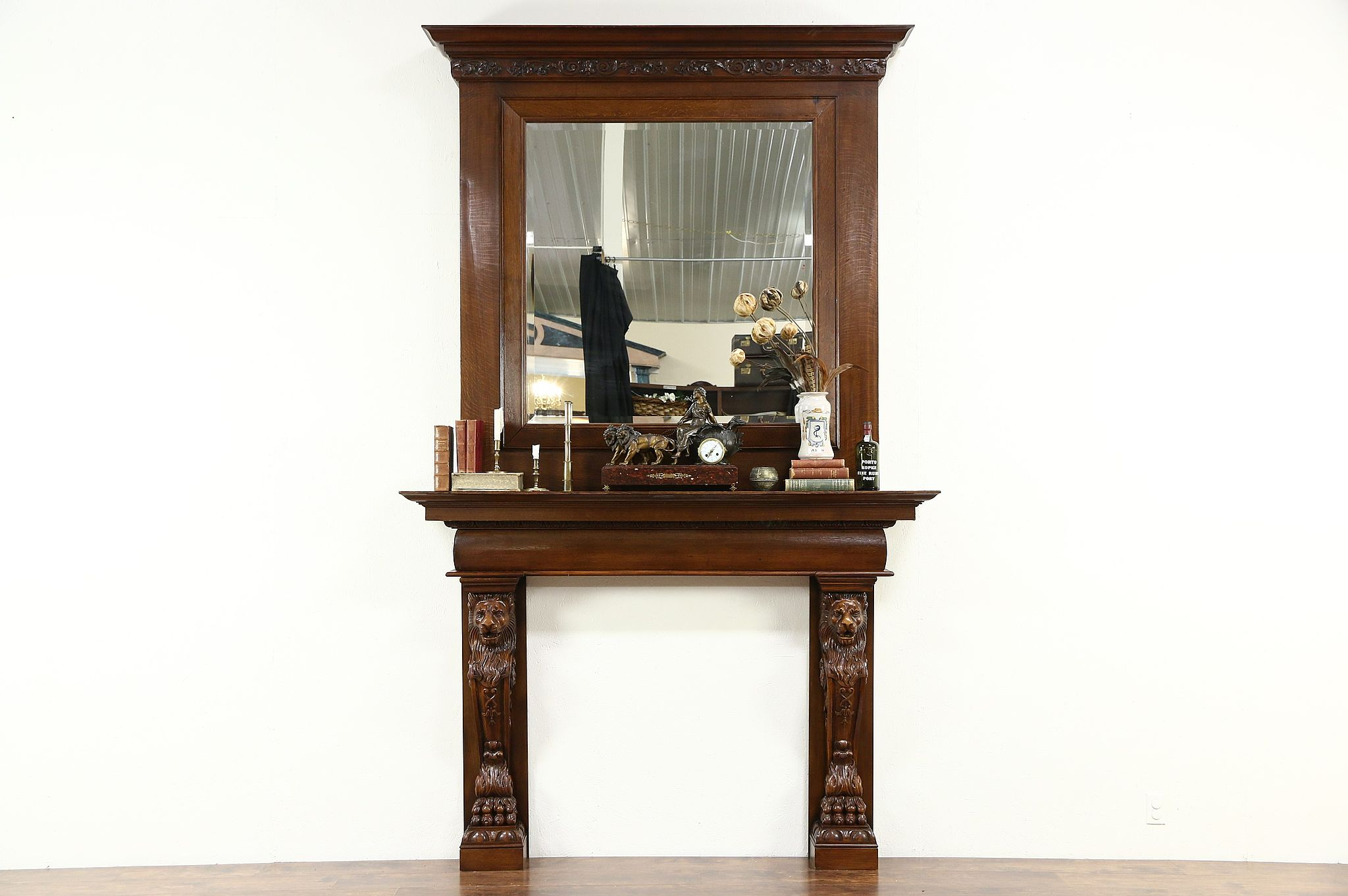 Antique Fireplace Mantel With Mirror Ations S