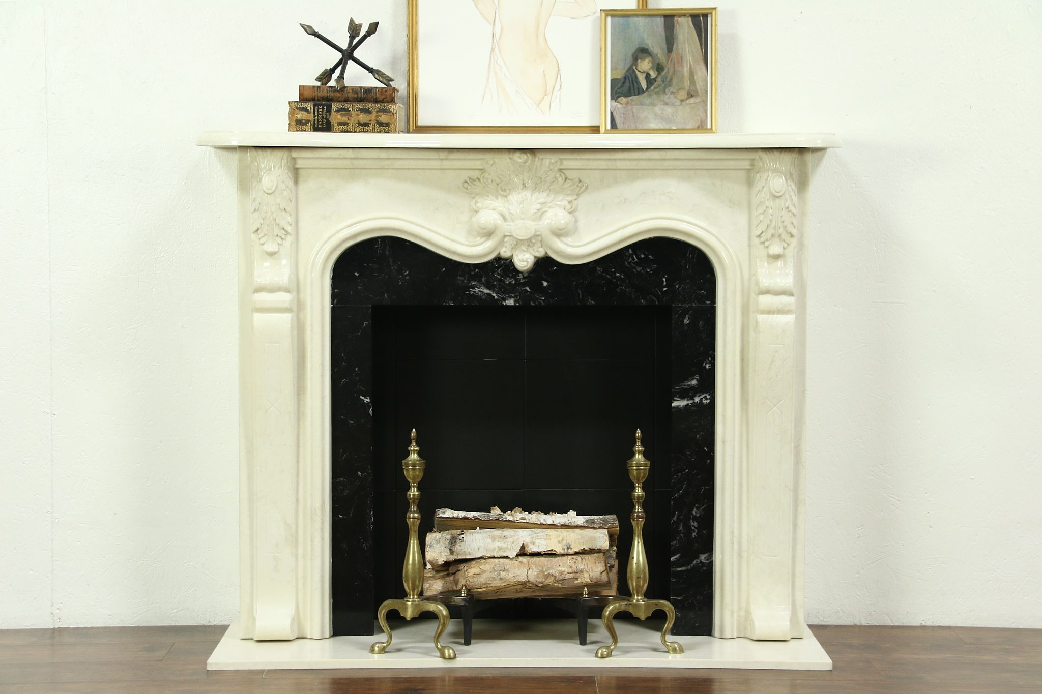 French Style Cultured Marble Fireplace Mantel Surround 28756
