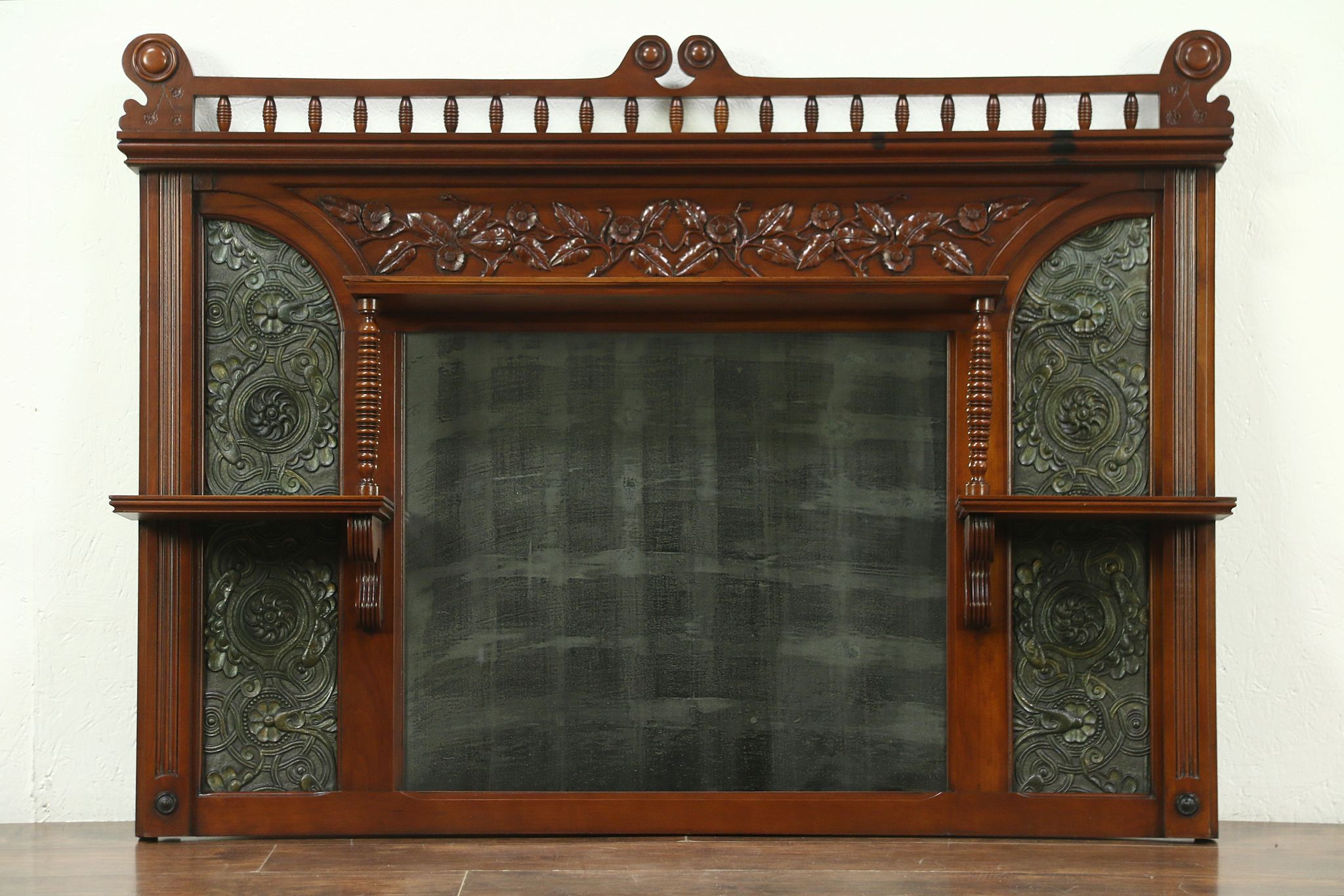 Sold Victorian Antique Cherry Leather Architectural Salvage Mantel Mirror 28808 Harp Gallery Antiques Furniture