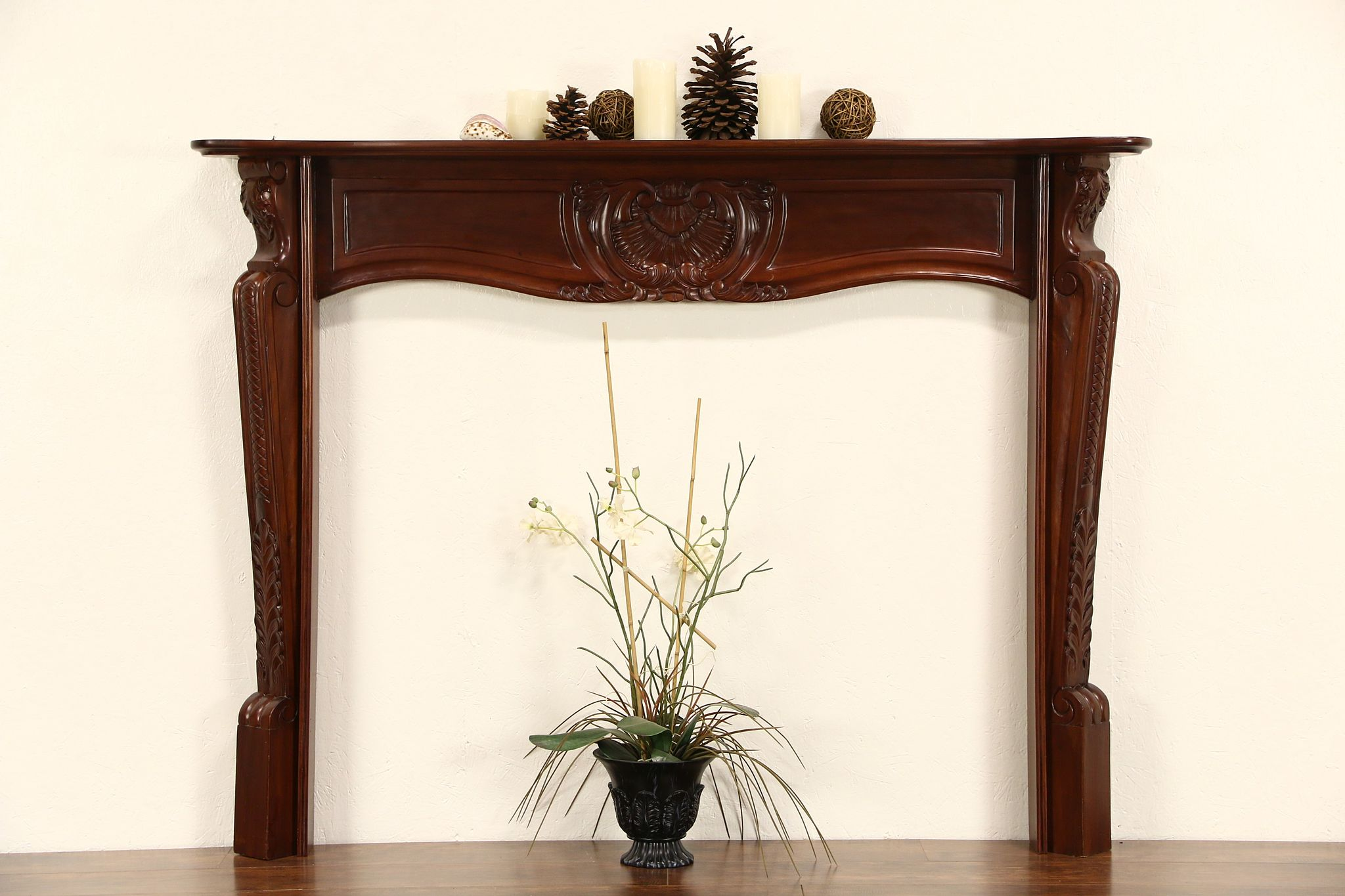 Sold Mahogany Vintage Hand Carved Fireplace Mantel Harp Gallery Antique Furniture