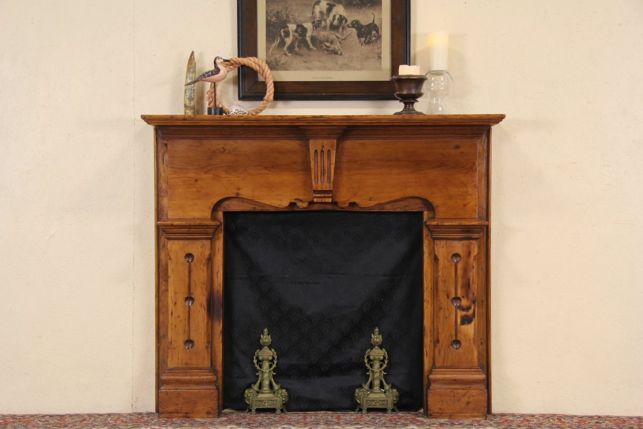 SOLD - Country Pine 1850\'s Antique Architectural Salvage Fireplace ...
