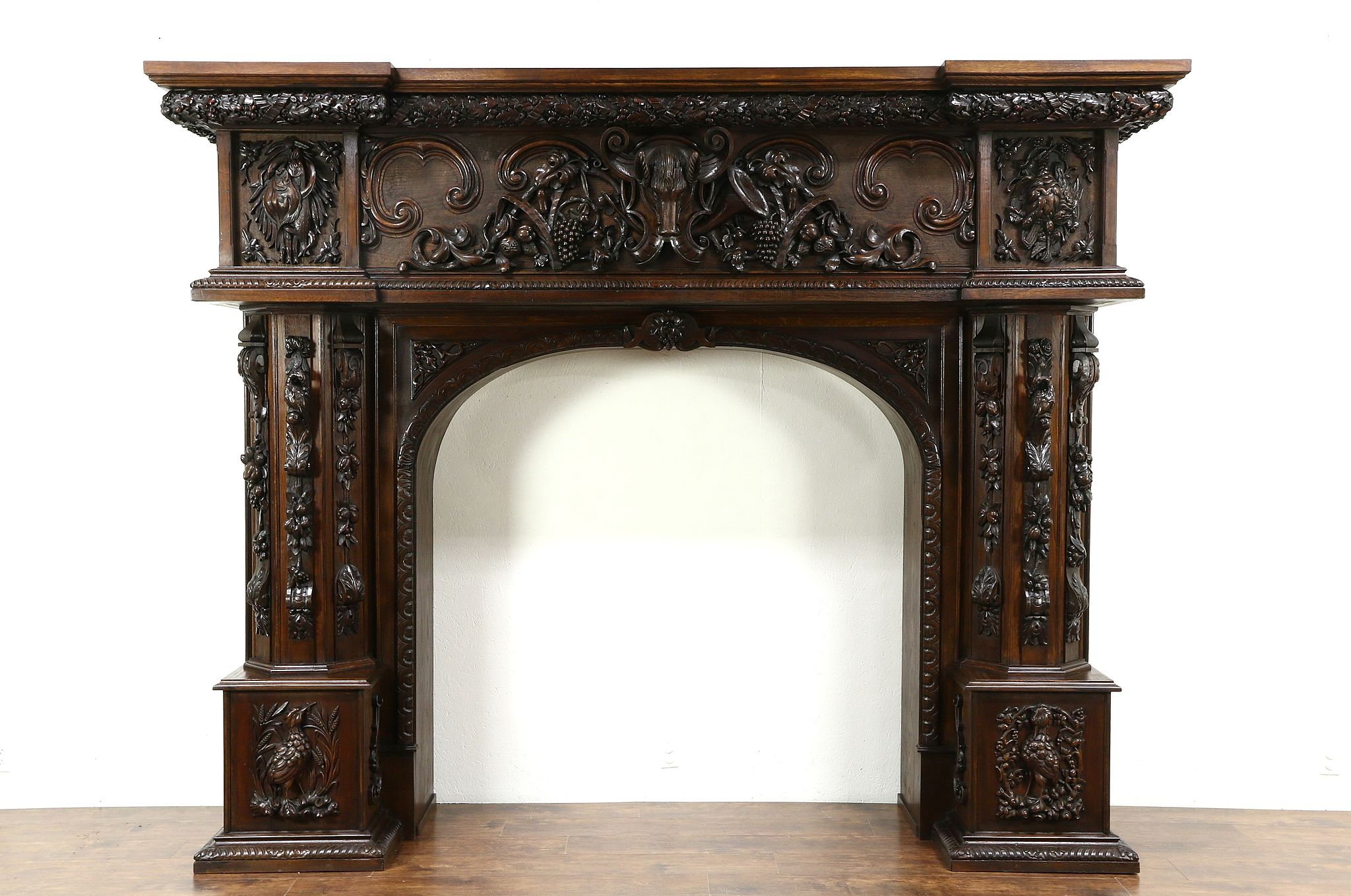 Carved Oak Antique Fireplace Lodge Mantel Or Archway Animal Sculptures 10 5