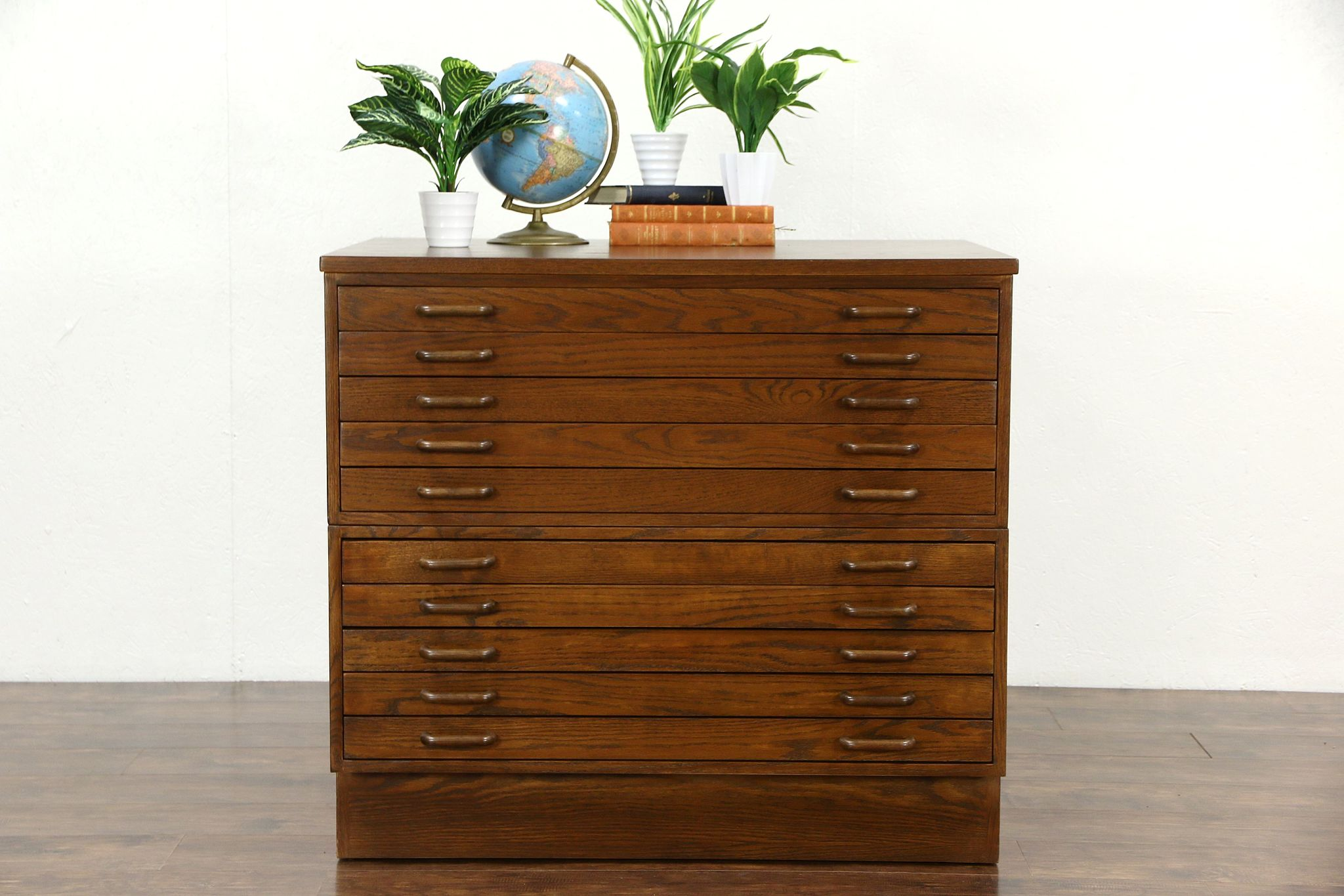 Stacking Oak 10 Drawer Vintage Map Chest Drawing Or Doent File