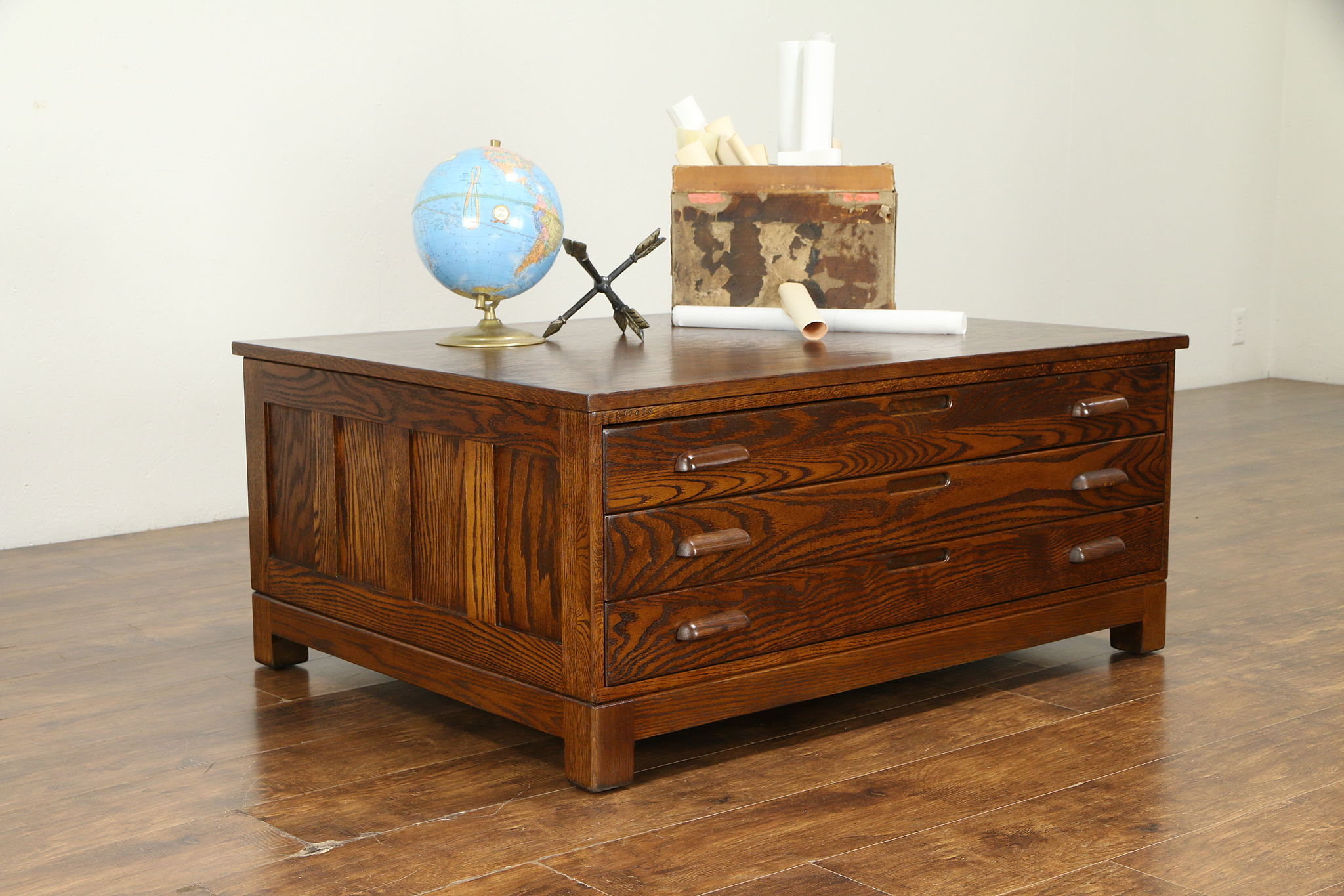 Sold Oak Vintage Map Chest Collector Or Document File Coffee