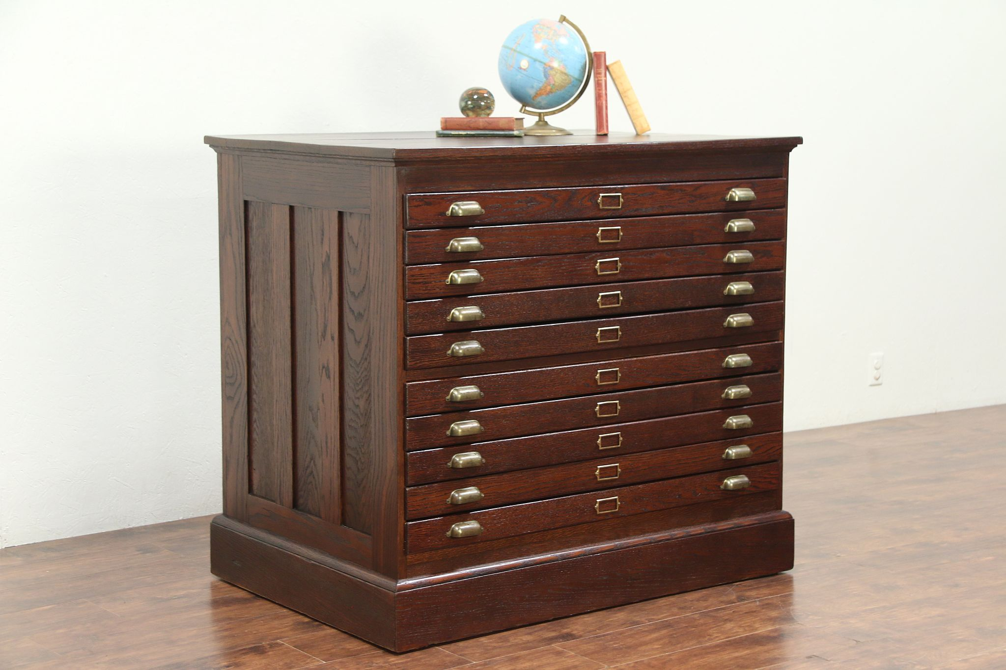 Oak Antique 10 Drawer Map Chest, Drawing Or Collector File Cabinet #29172