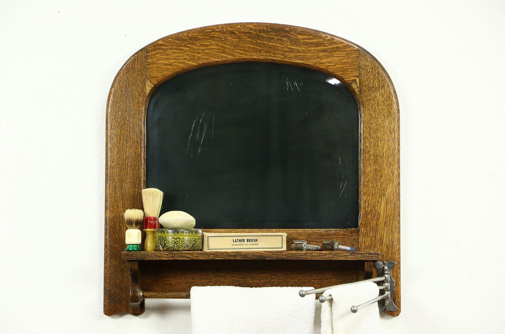 Oak 1900 Antique Beveled Barber Or Bathroom Mirror Towel Bars
