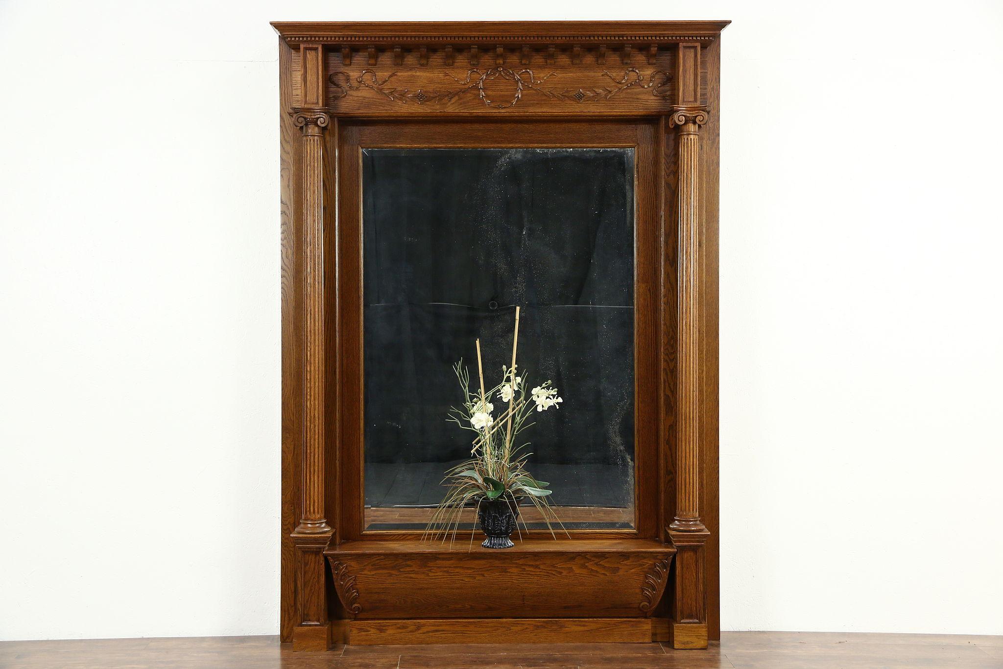 Classical Carved Oak 1900 Antique Hall Mirror Original Beveled Glass