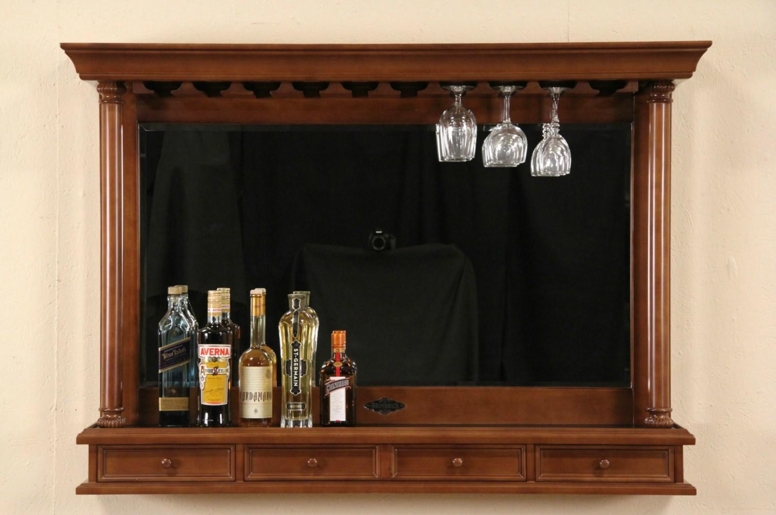 Sold Brunswick Signed Cherry Back Bar Mirror Amp Glass