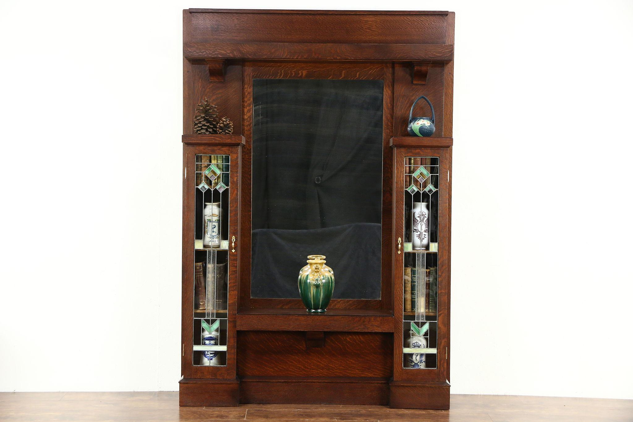Arts U0026 Crafts Mission Oak Antique Hall Mirror, Leaded Glass, Petersen  Chicago ...