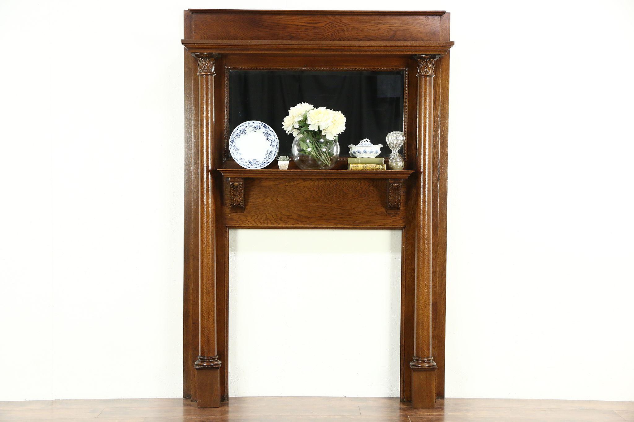 Victorian Oak Architectural Salvage Antique Fireplace Mantel Mirror