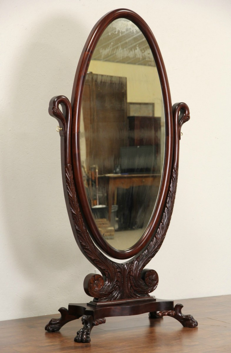 Sold Empire 1900 Antique Cheval Dressing Mirror Swan