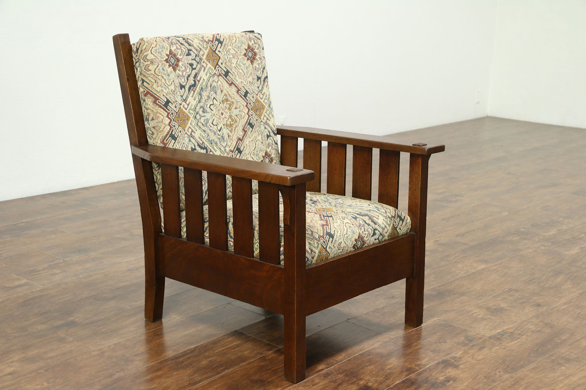 Arts U0026 Crafts Mission Oak Antique 1905 Craftsman Chair, New Upholstery