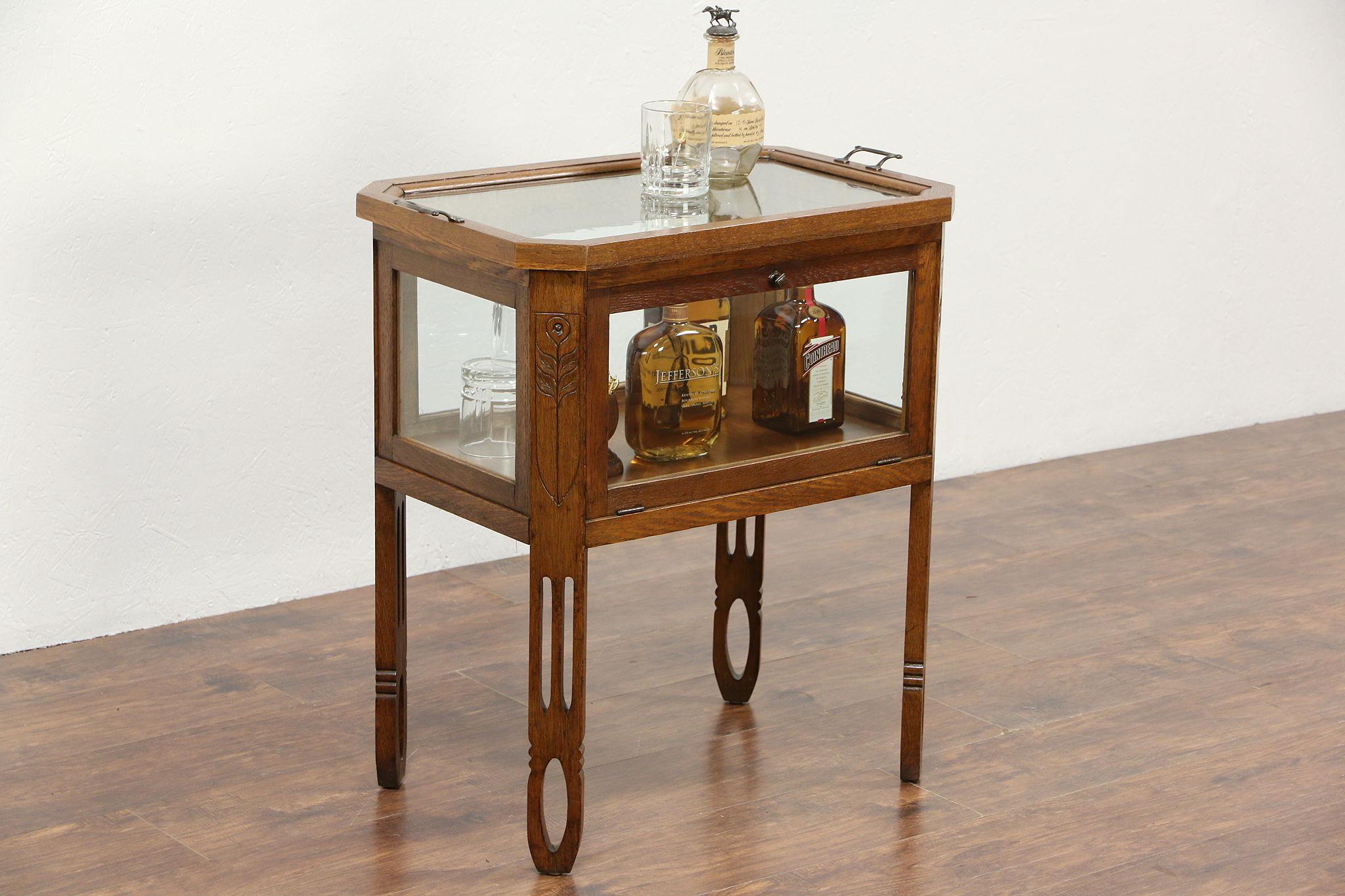 Oak Arts U0026 Crafts 1910 Antique Bar Cabinet U0026 Glass Tray, Holland