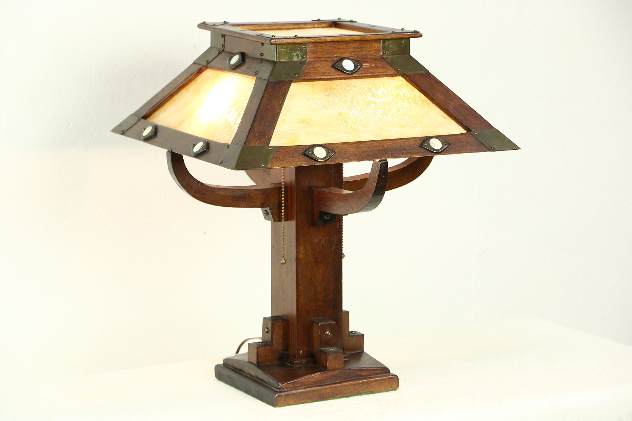 Antique Stained Gl Craftsman Lamp