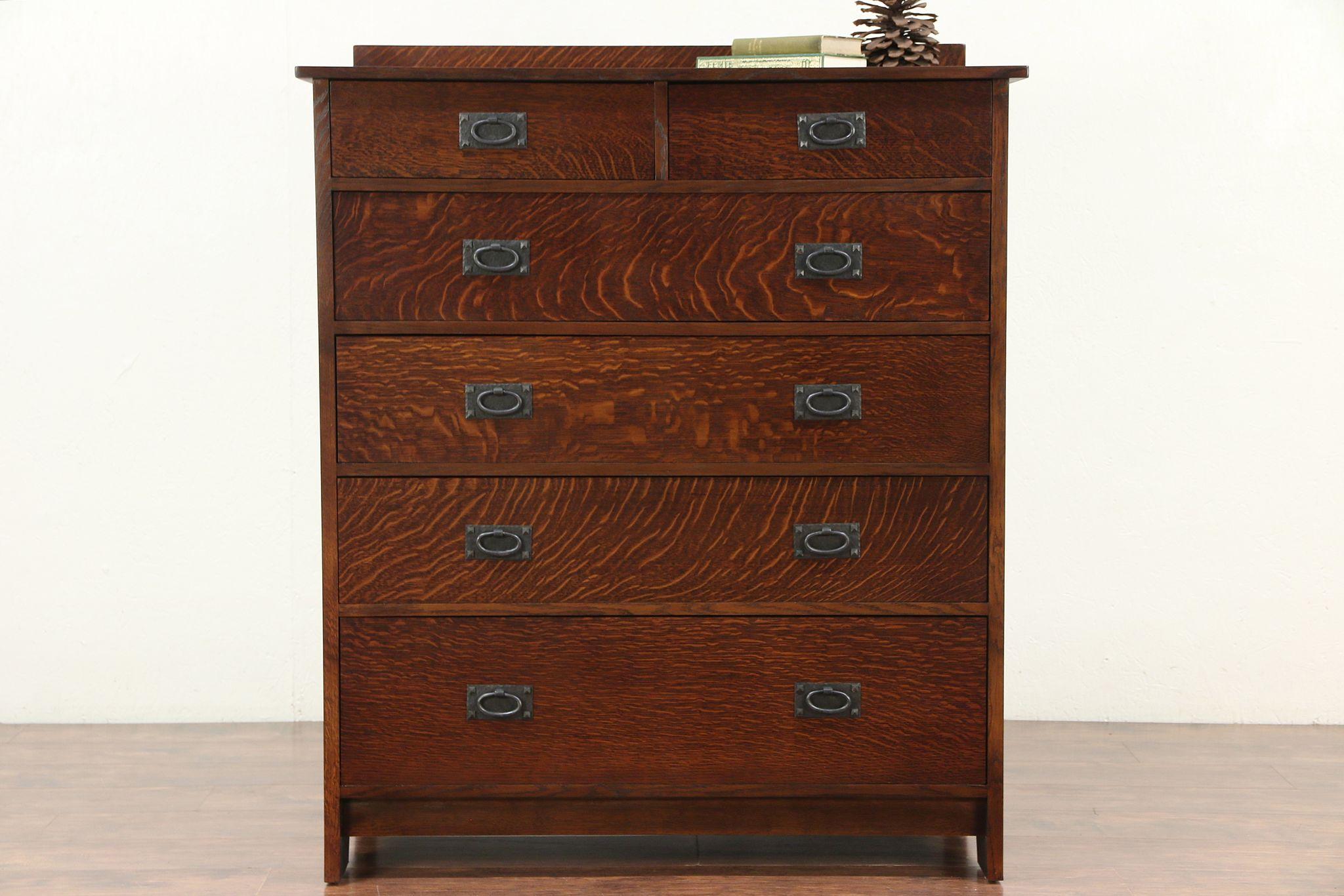 Art Crafts Mission Oak Craftsman Style Tall Chest Or Dresser 29483