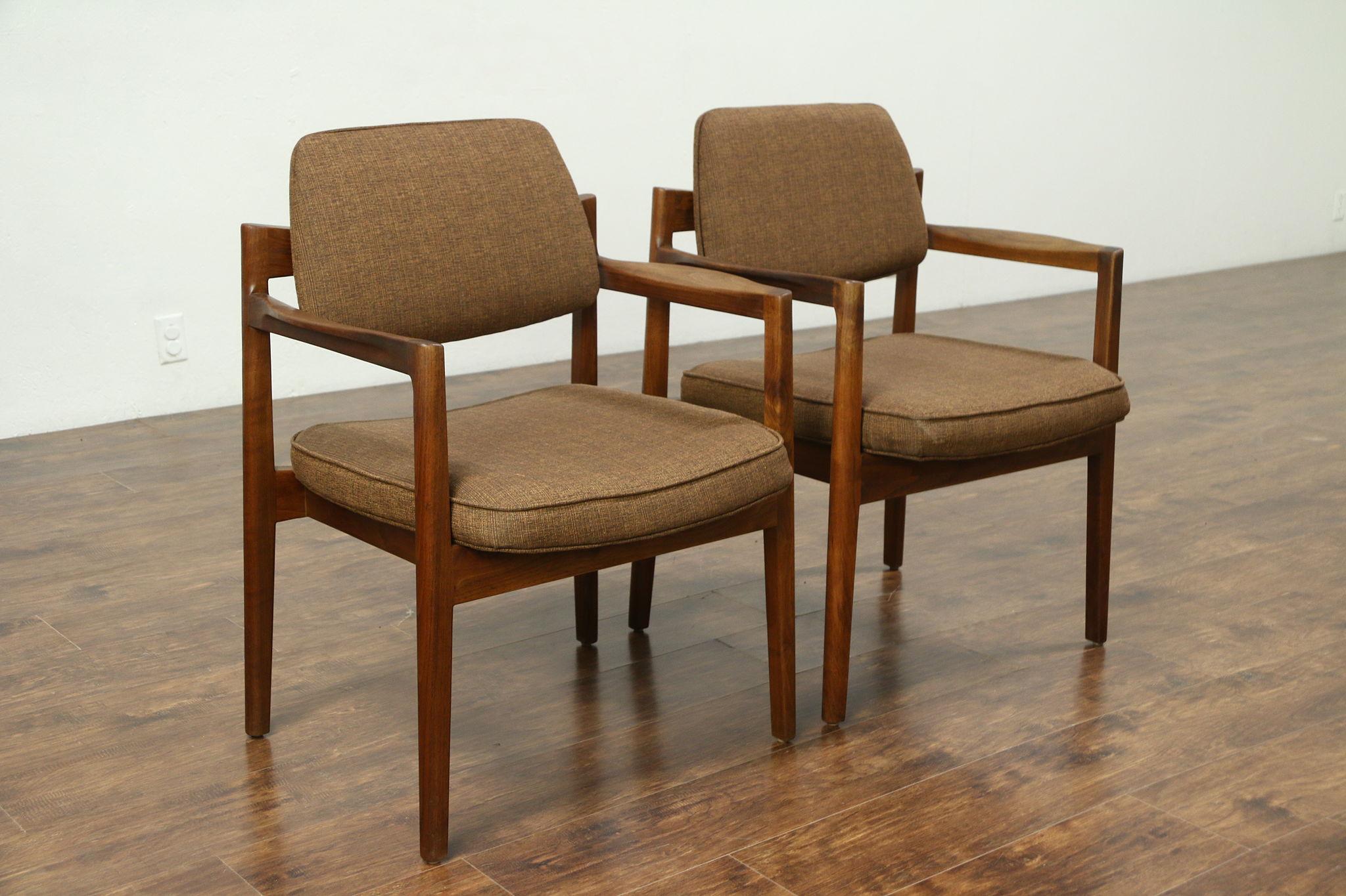 Pair Of Midcentury Modern Teak 1960u0027s Danish Chairs, Jens Risom, New  Upholstery