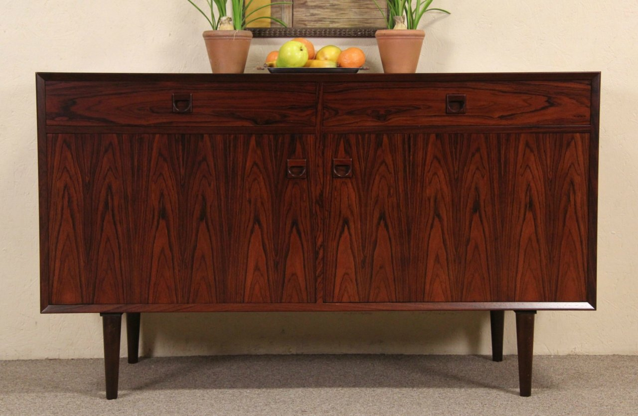 Rosewood Midcentury Danish Modern Credenza, Console Or Sideboard, 1960, 2  Of 2