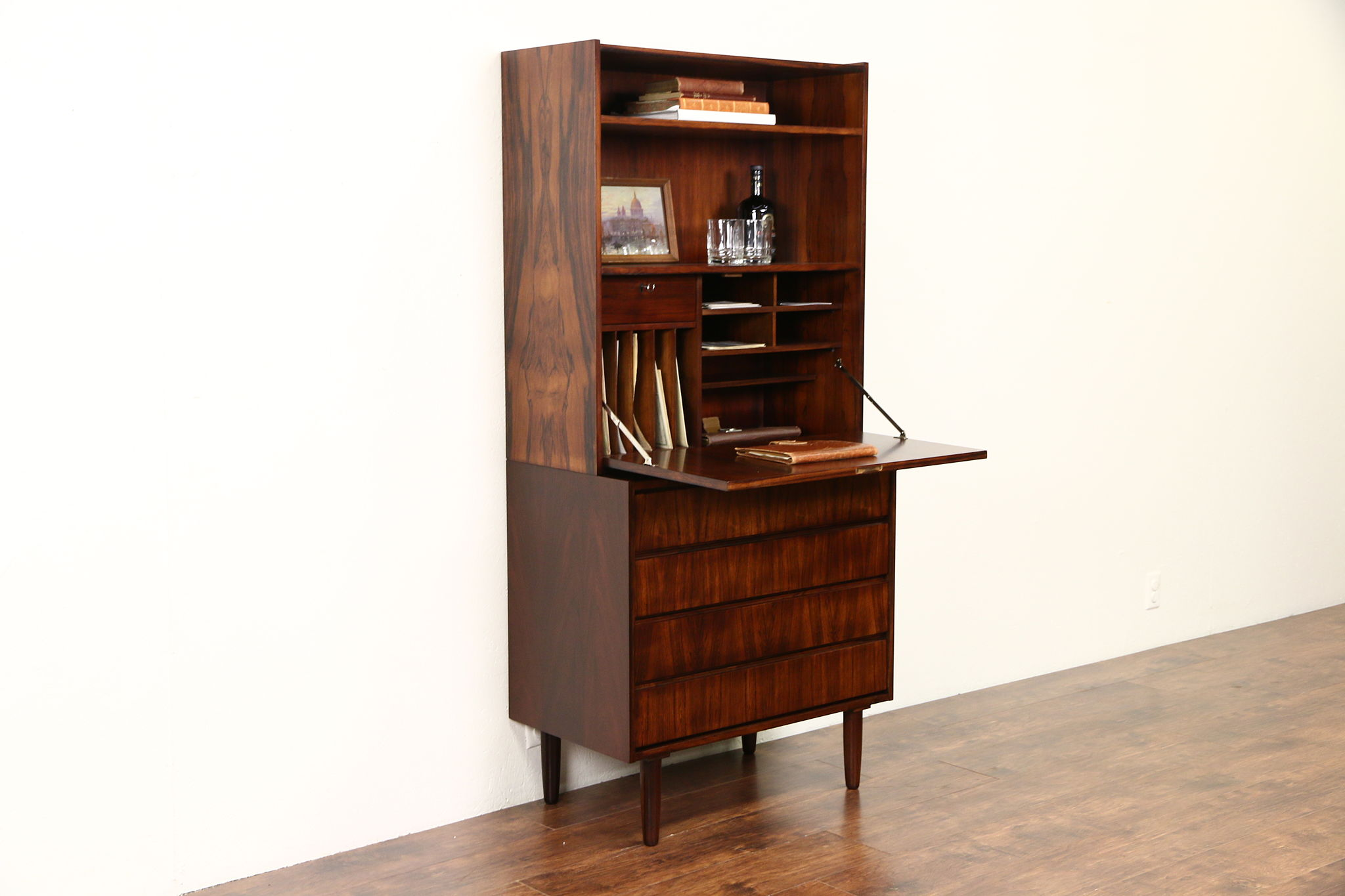 Picture of: Sold Rosewood Midcentury Danish Modern 1960 S Vintage Secretary Desk Bookcase Harp Gallery Antiques Furniture
