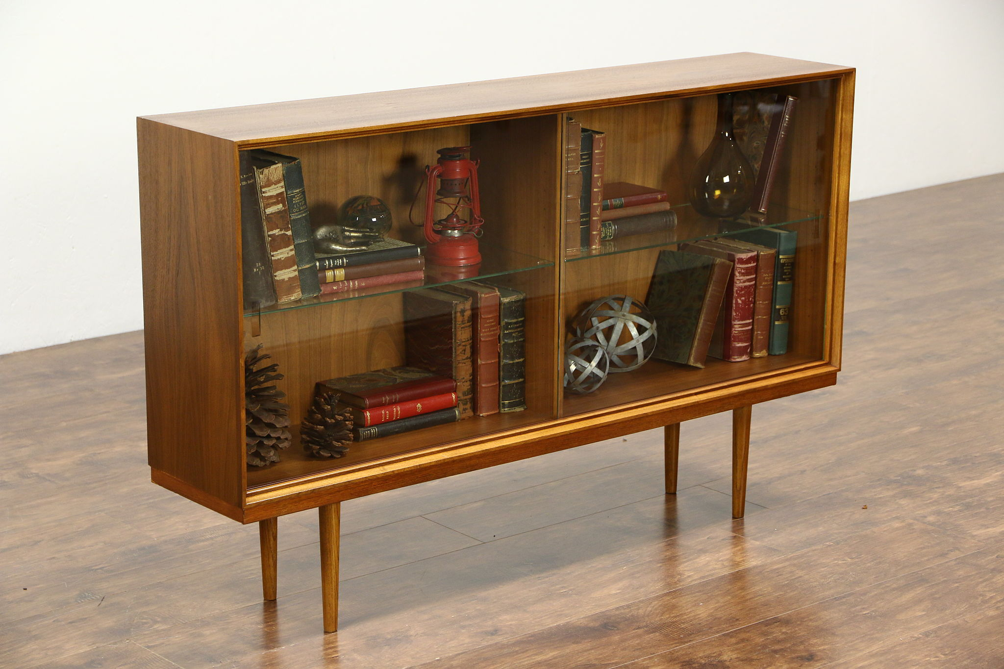Midcentury Danish Modern 1960 Vintage Walnut Bookcase Or China Display Cabinet