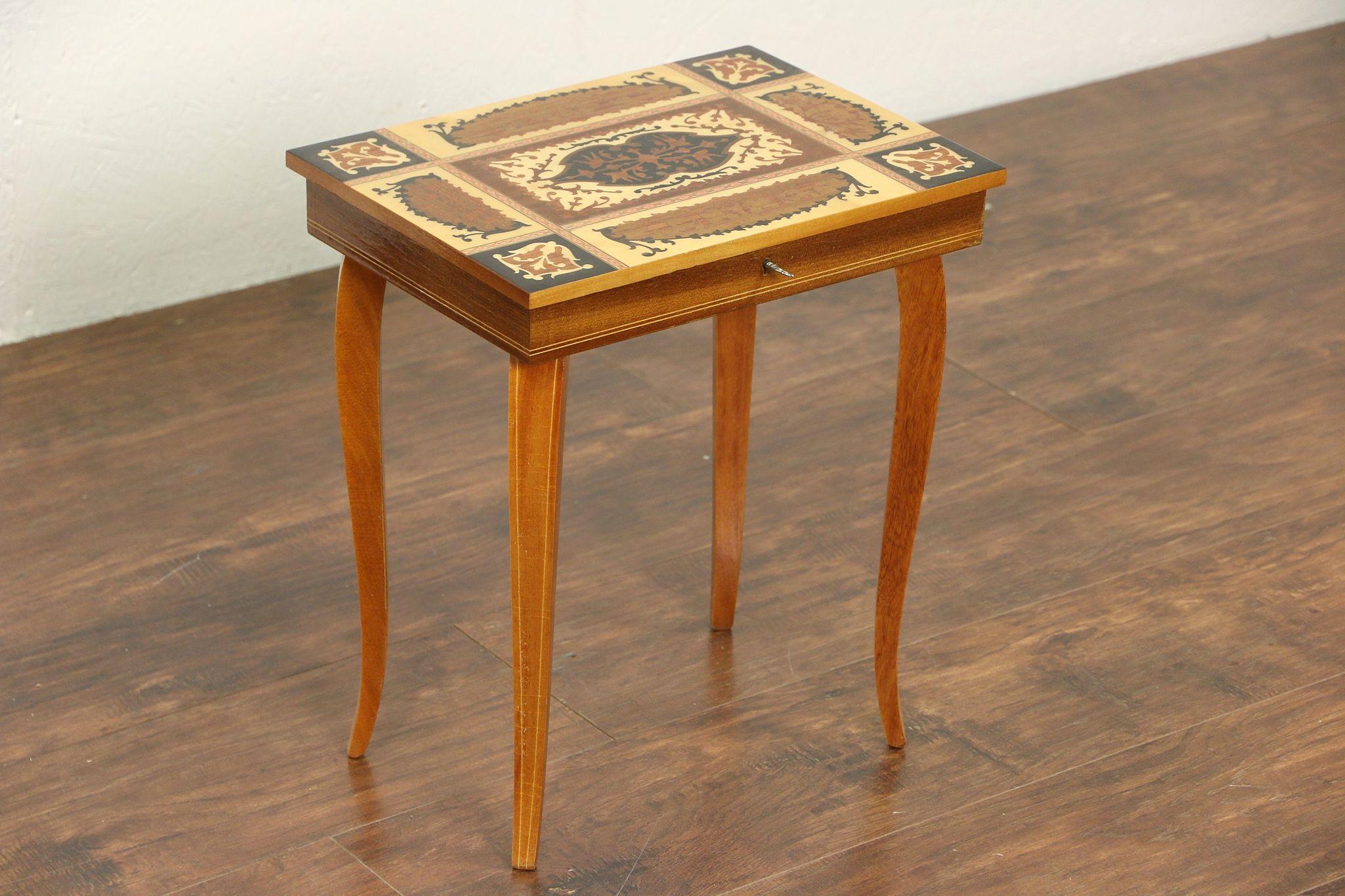Jewel Chest U0026 Vintage Italian Inlaid Music Box Table