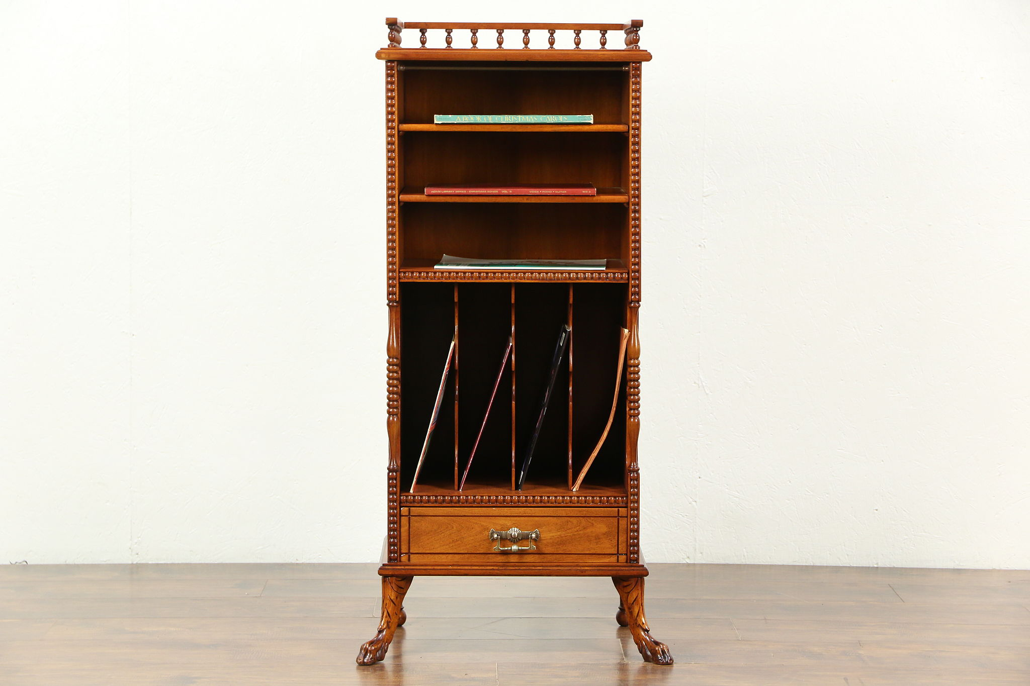 Victorian 1895 Antique Carved Music Or Folio Cabinet, Magazine Rack ...