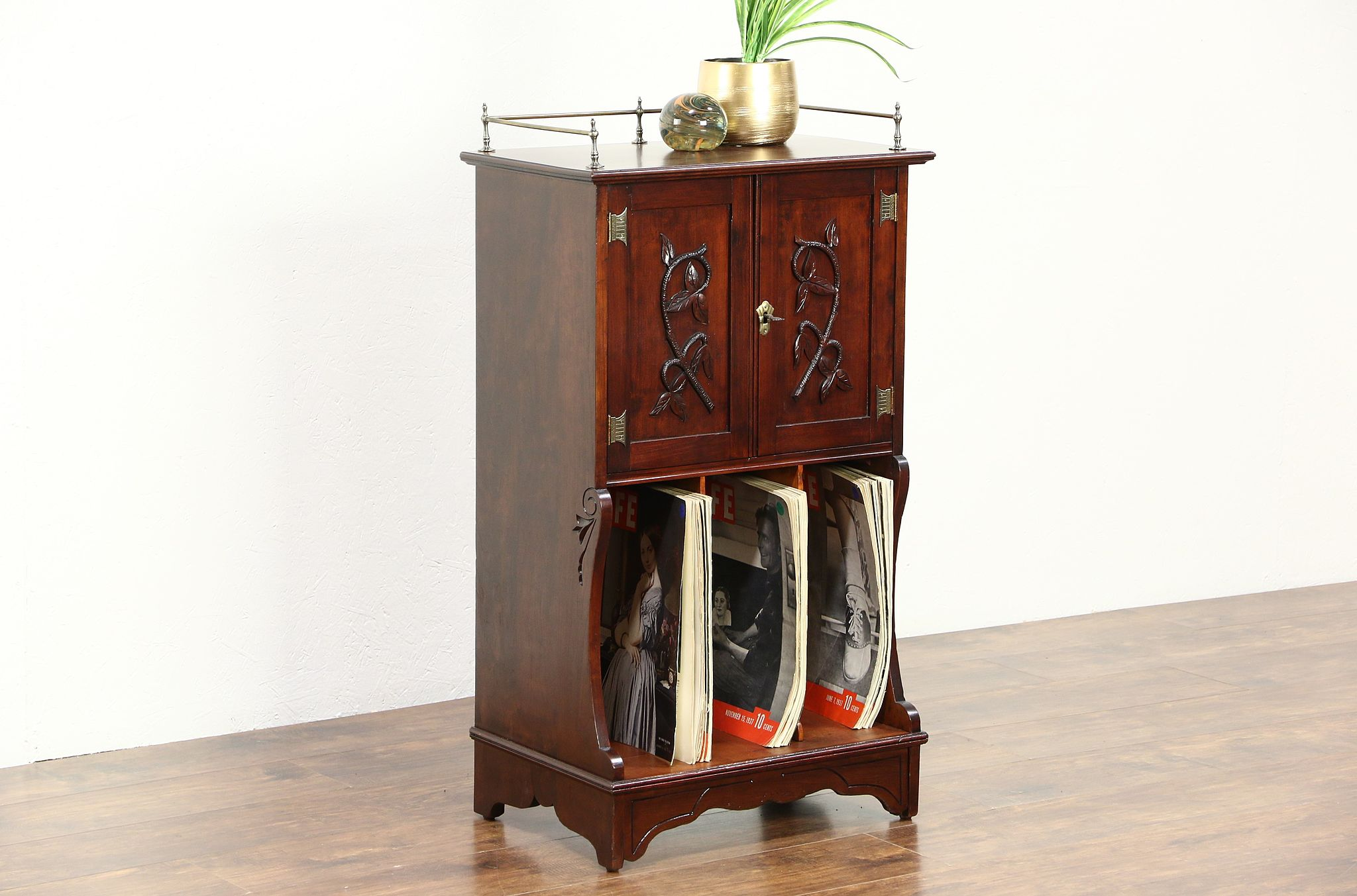 Victorian Cherry Antique 1885 Music Cabinet Or Portfolio File