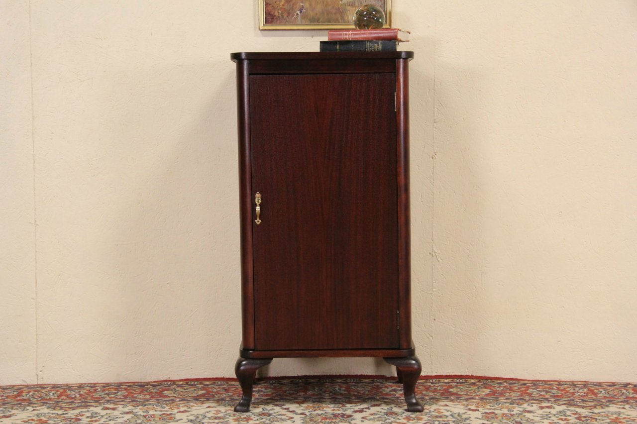 Music or Bath Cabinet with Shelves, 1900 Mahogany Antique