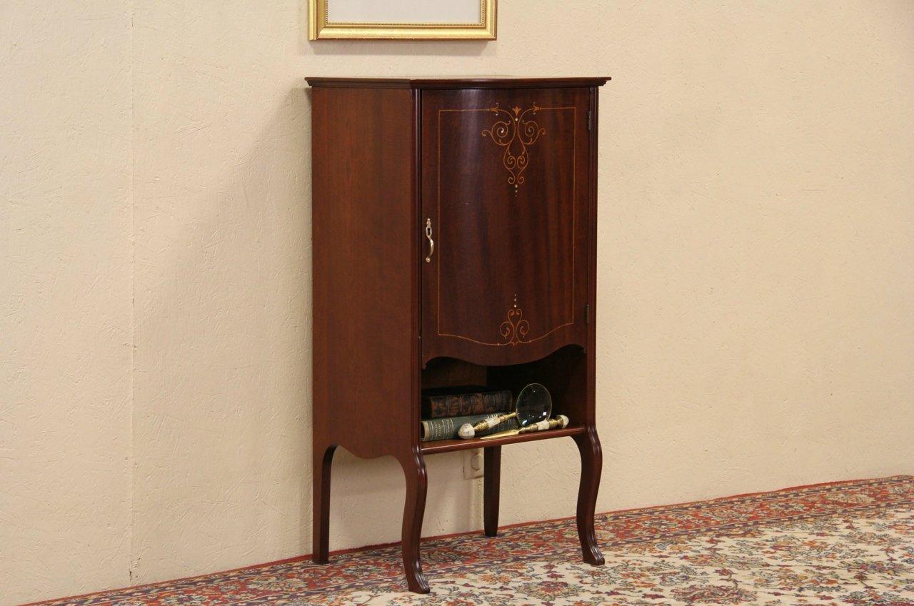 Mahogany 1900 Antique Pearl Inlaid Music Cabinet