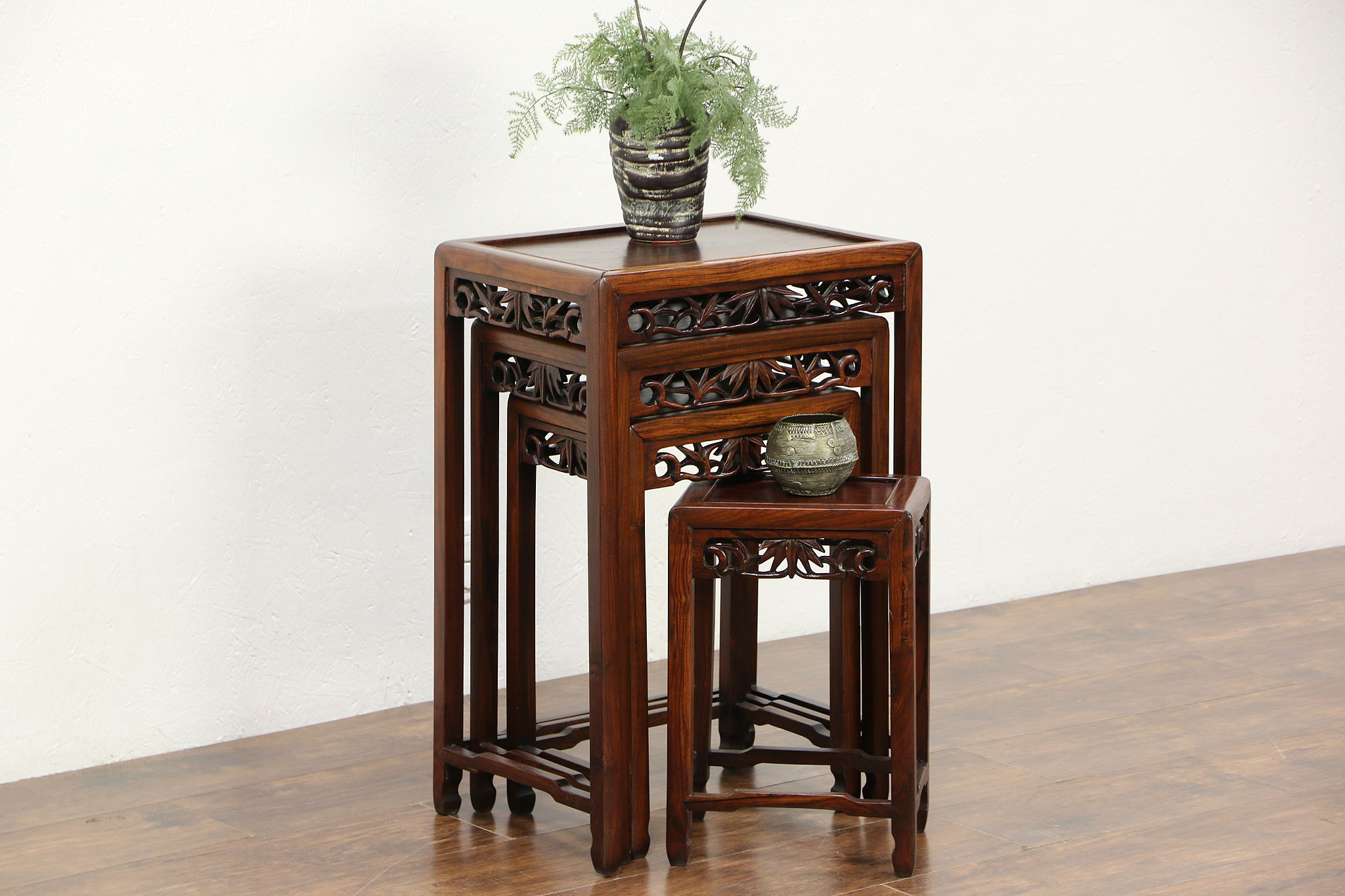 Antique Nesting Tables ~ Set of hand carved rosewood chinese vintage nesting
