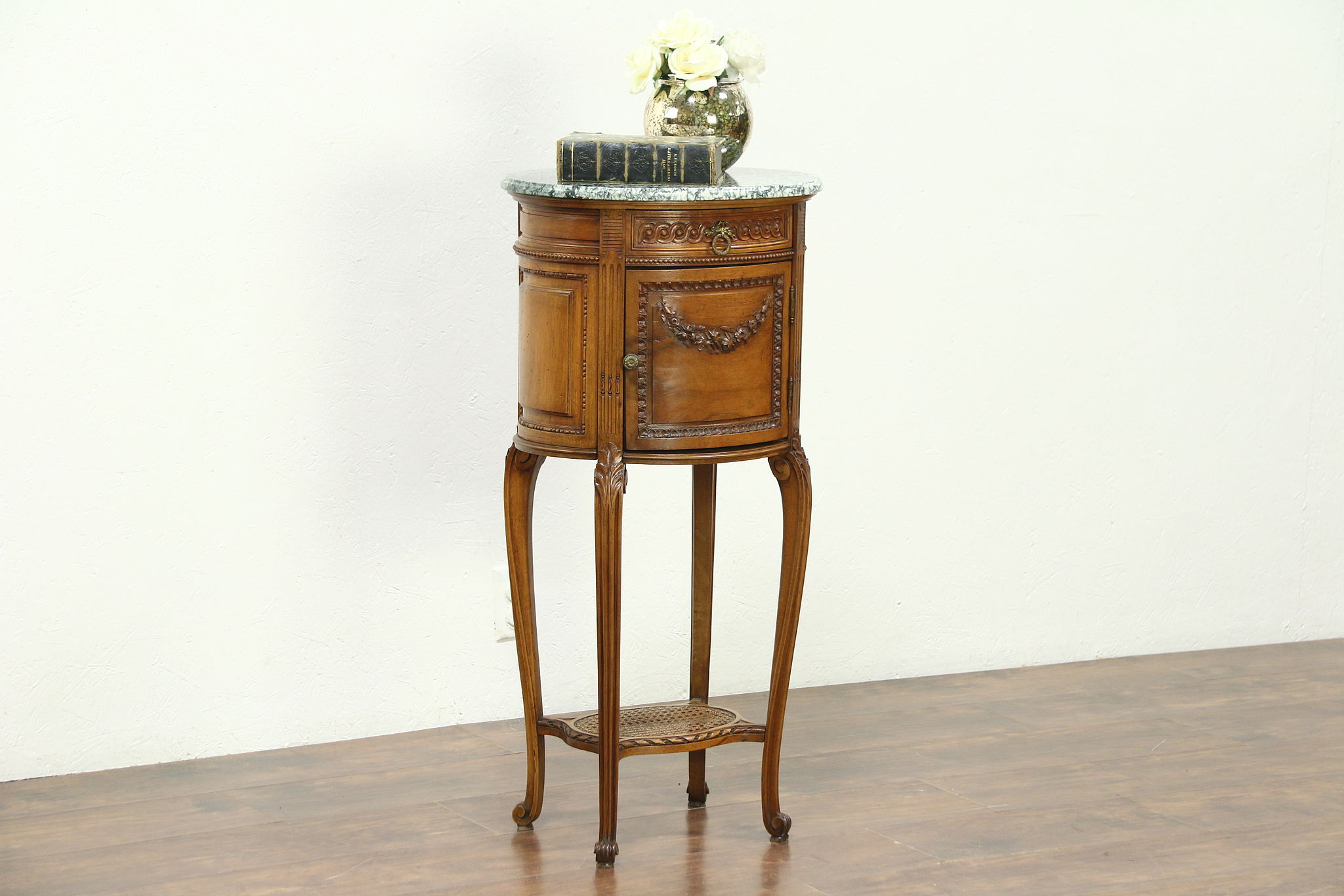 Oval Carved Antique Bedside Commode, Table Or Nightstand, Marble Top,  France Photo