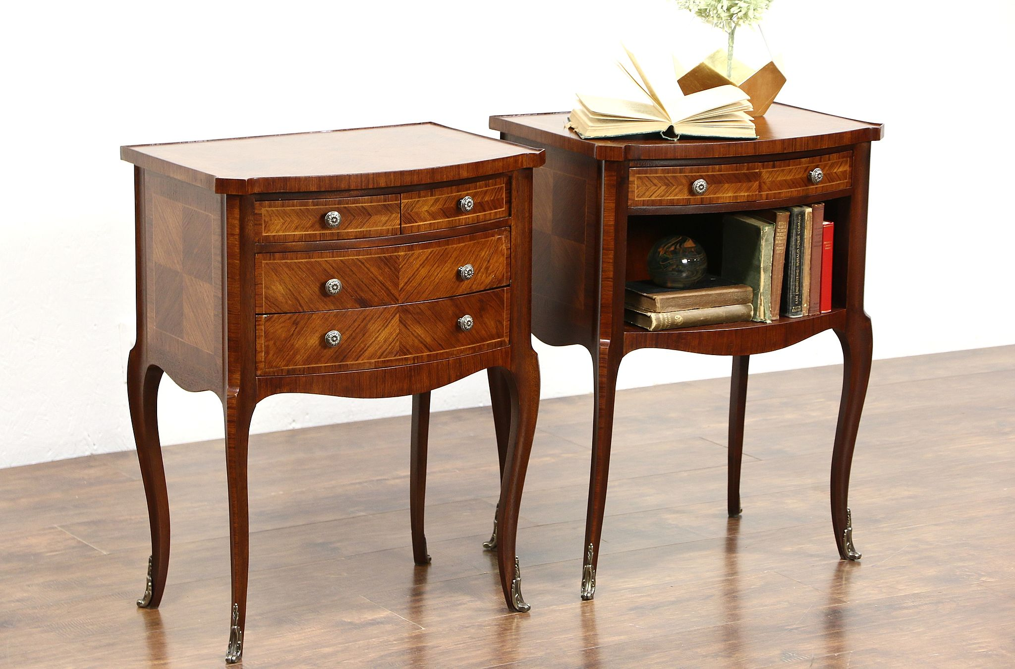 Delightful Vintage Nightstands Part - 1: Pair Of French Rosewood Vintage Nightstands Or End Tables ...