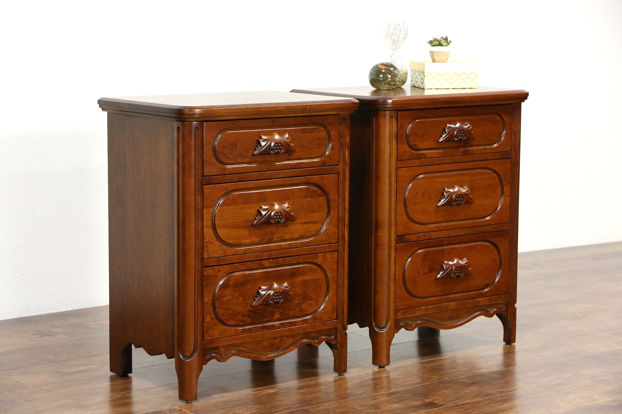 Pair of Lillian Russell by Davis Signed Cherry 1950\'s Nightstands, End  Tables