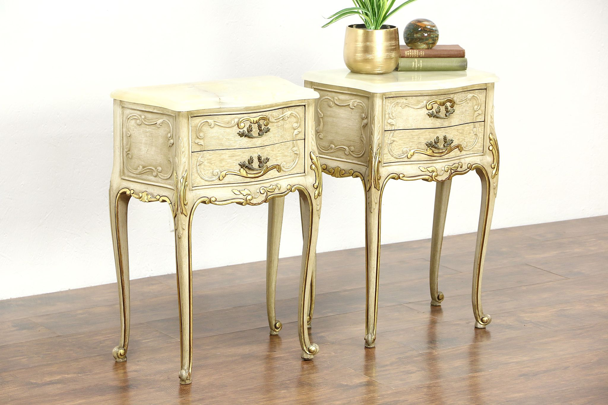 photo 1 pair italian hand painted vintage nightstands