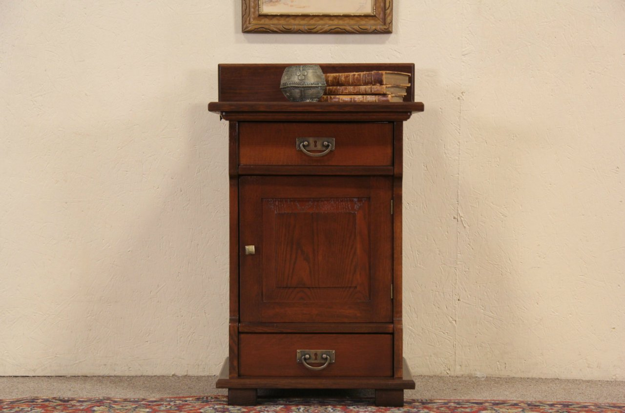Oak 1900 Antique Nightstand, Signed Milwaukee - SOLD - Oak 1900 Antique Nightstand, Signed Milwaukee - Harp Gallery