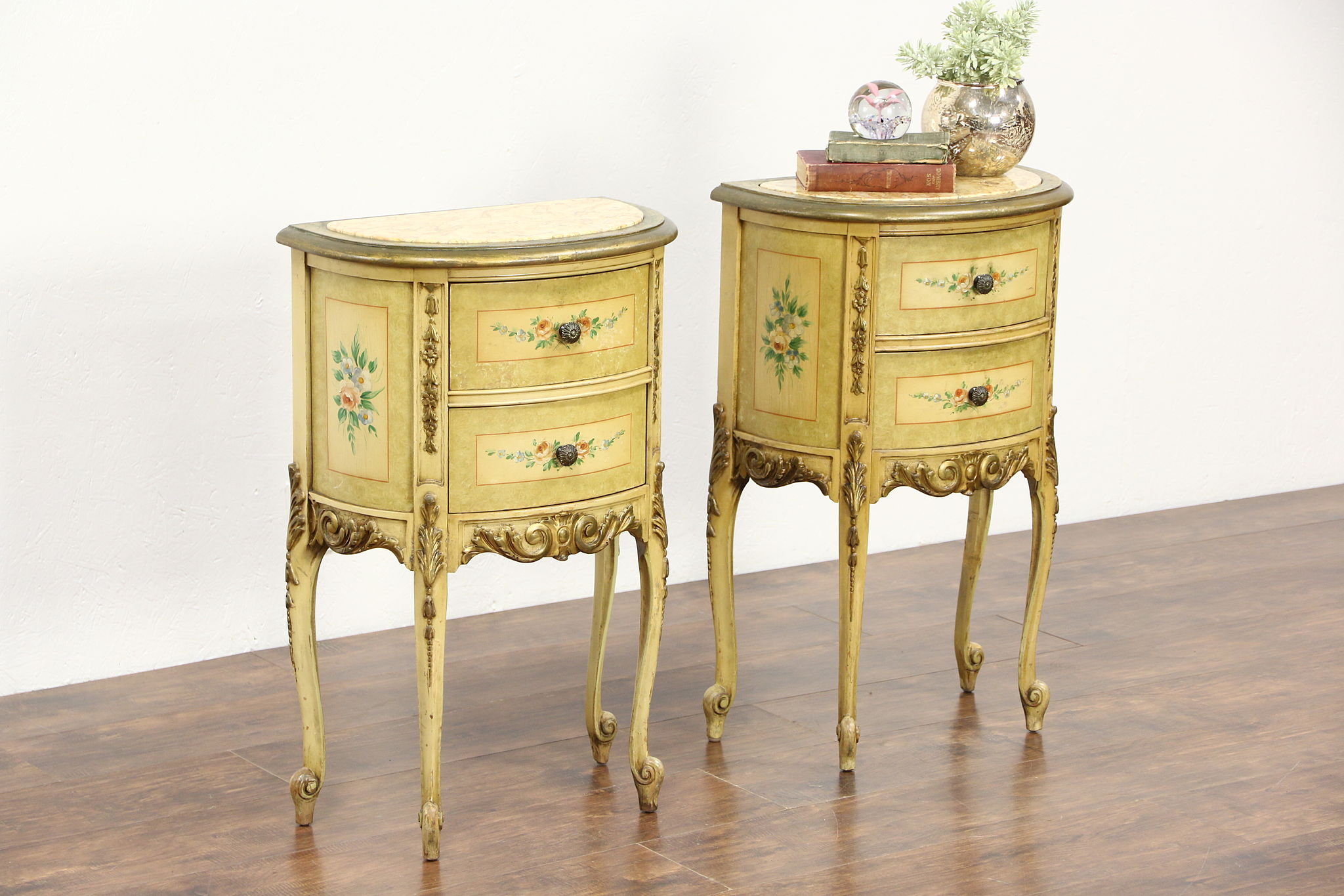 Pair Hand Painted 1930 Vintage End Tables Or Nightstands, Marble Tops