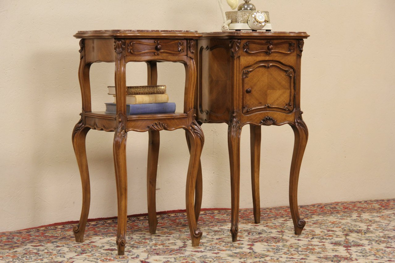 photo 1 french pair antique carved walnut marble top nightstands