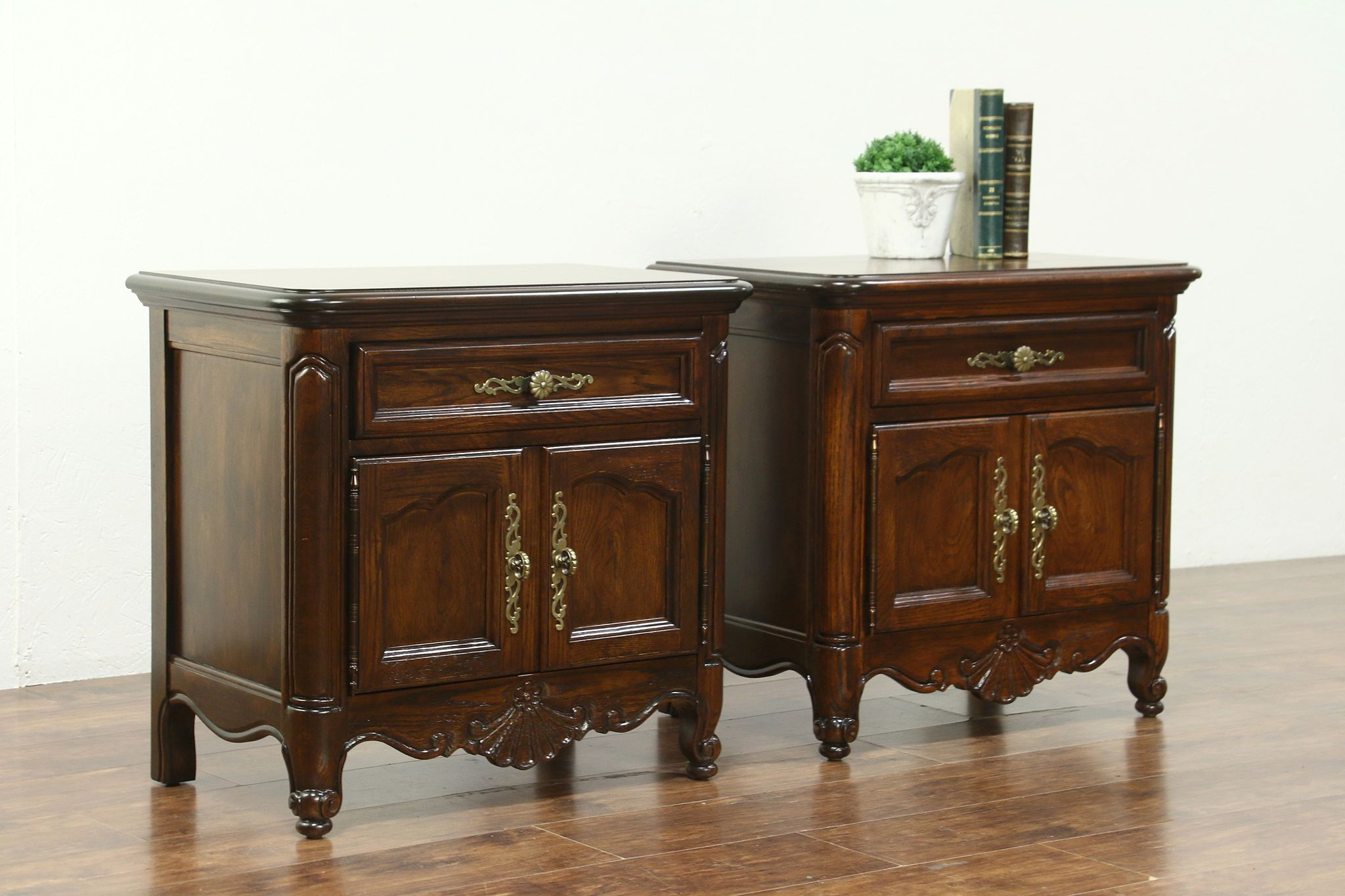 Country French Vintage Oak Pair Nightstands Or End Tables, Signed Hickory  #28616