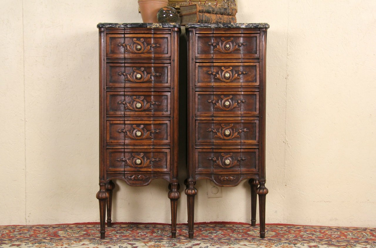 Sold Pair Of Black Marble Top Italian Carved Narrow