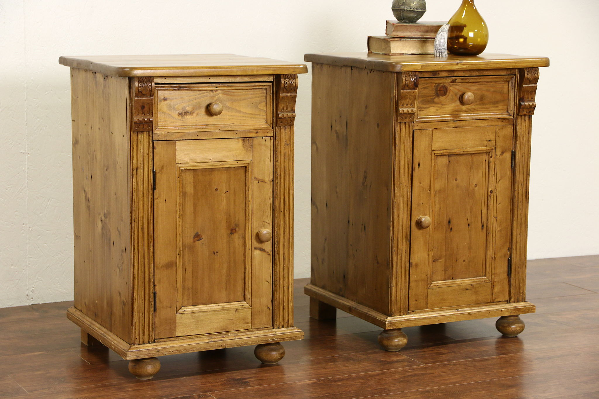 Country Pine Vintage Nightstands Or End Tables Handcarved In Europe