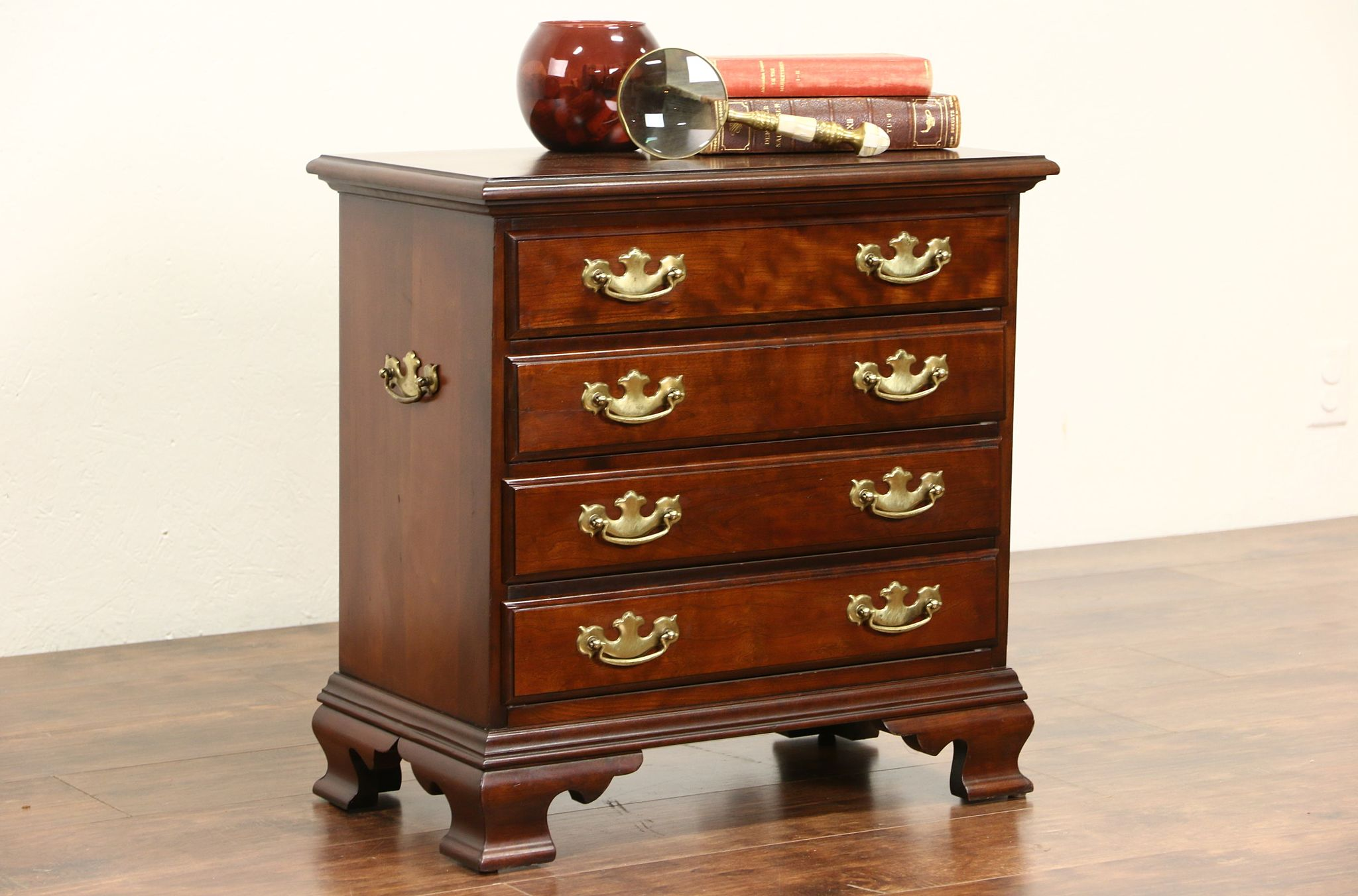 Traditional Vintage Cherry Chest, Nightstand Or End Table, Signed Hammary