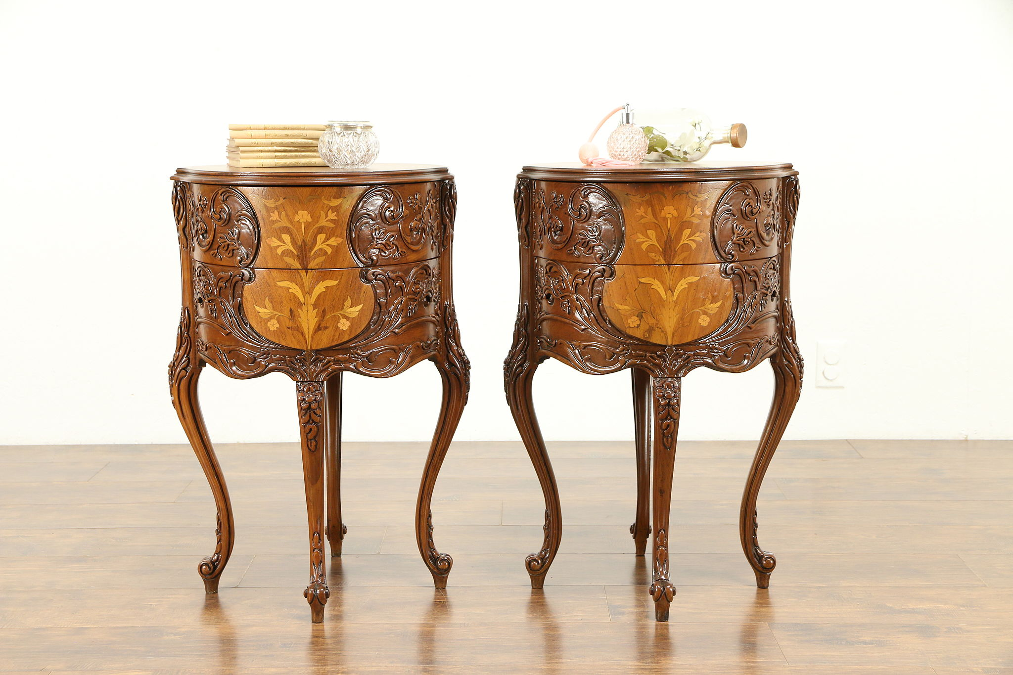 Pair Of Round Vintage Carved Marquetry End Tables Or Nightstands #31192  Photo