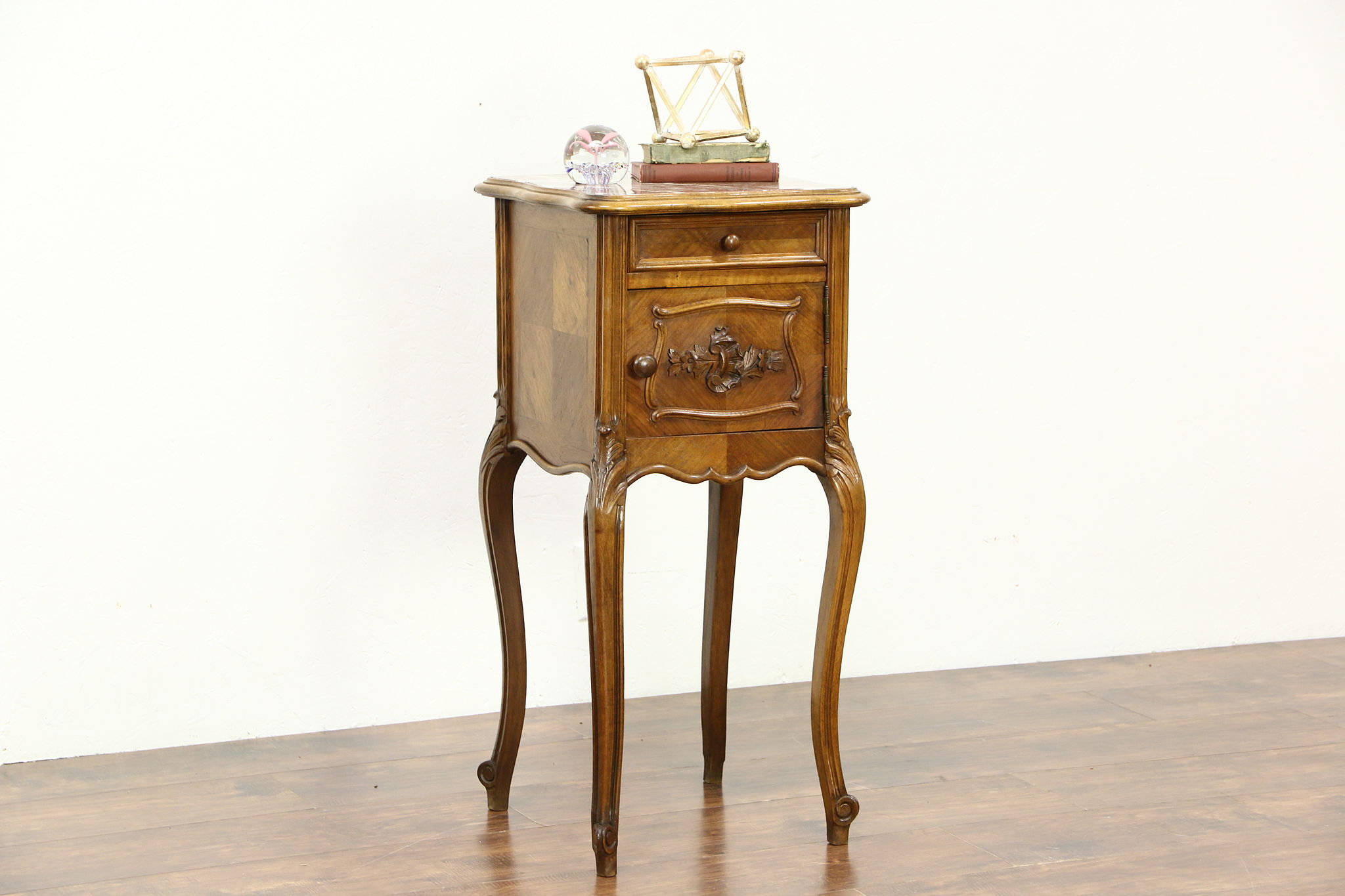 Sold french antique carved walnut nightstand or bedside for French nightstand bedside table