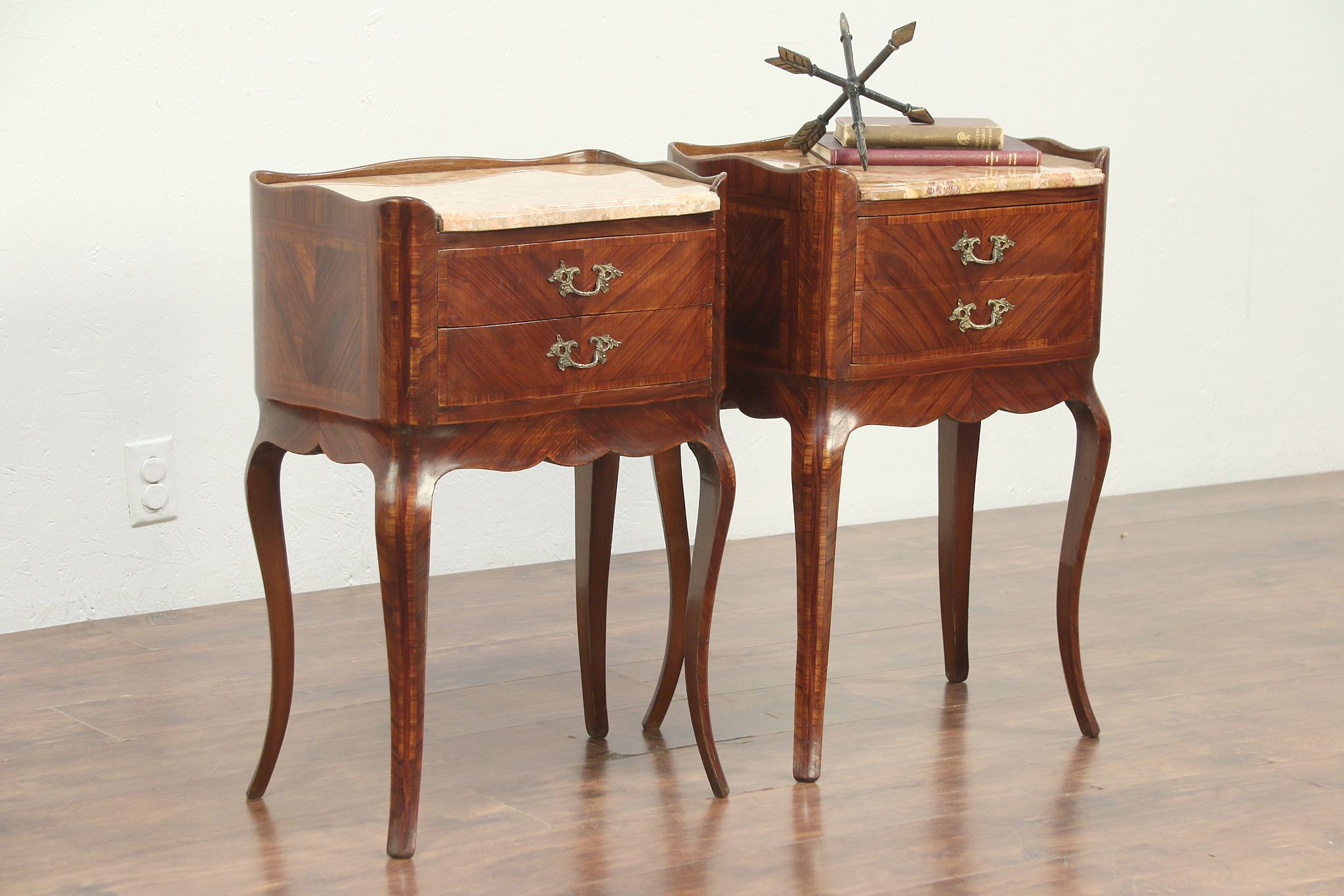 Pair Of Antique End Tables Or Nightstands, Banding, Marble Tops, Italy  #29019 ...