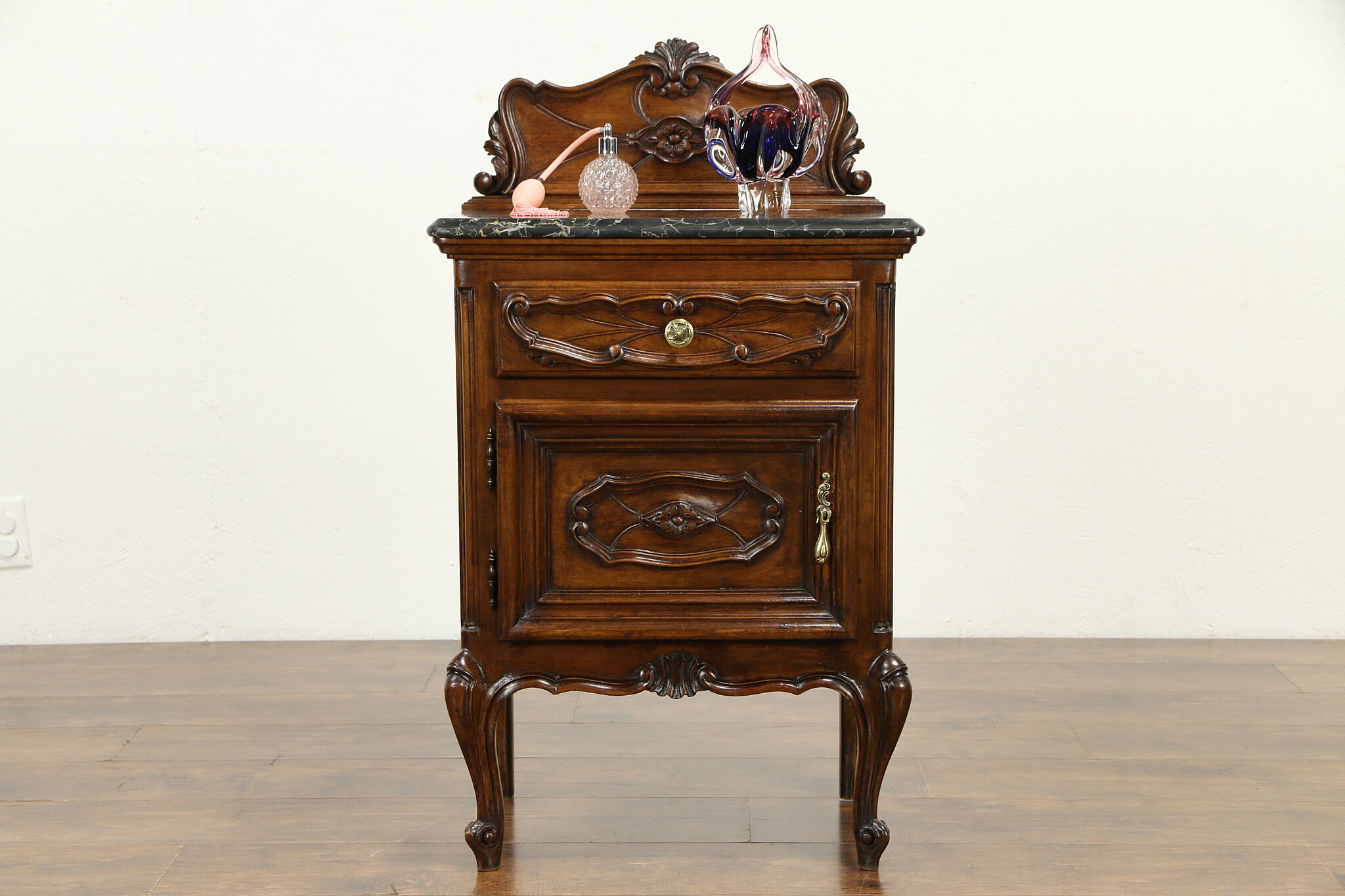 Italian Antique Carved Walnut Nightstand Black Marble 31625