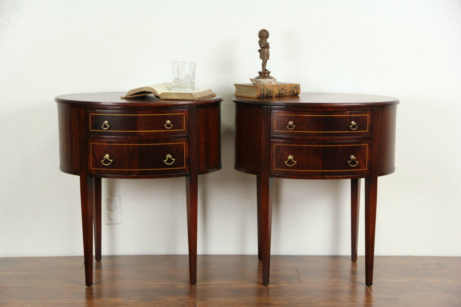 Pair Of Oval Georgian 1940u0027s End Tables Or Nightstands, Tooled Leather ...