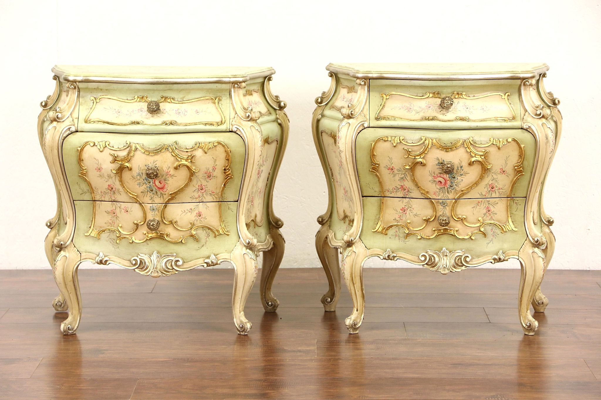 pair of venetian hand painted baroque vintage italian chests or nightstands