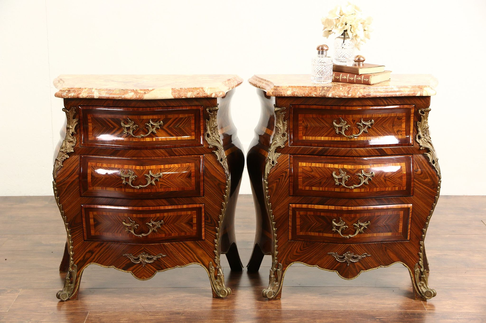 Pair Of Italian Rosewood E Marble Top 1940 Chests Nightstands Or Commodes Photo