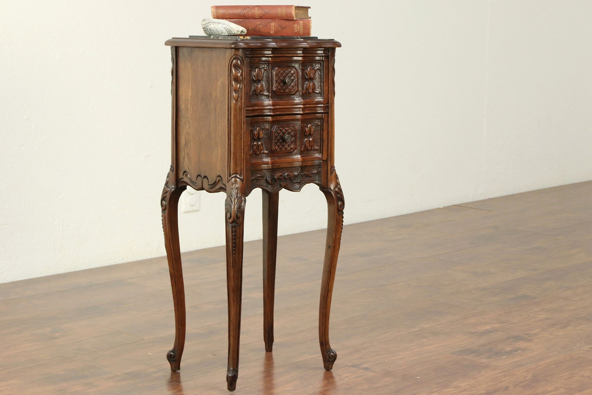 French Style Antique Carved Walnut Small Nightstand Black Marble 29295