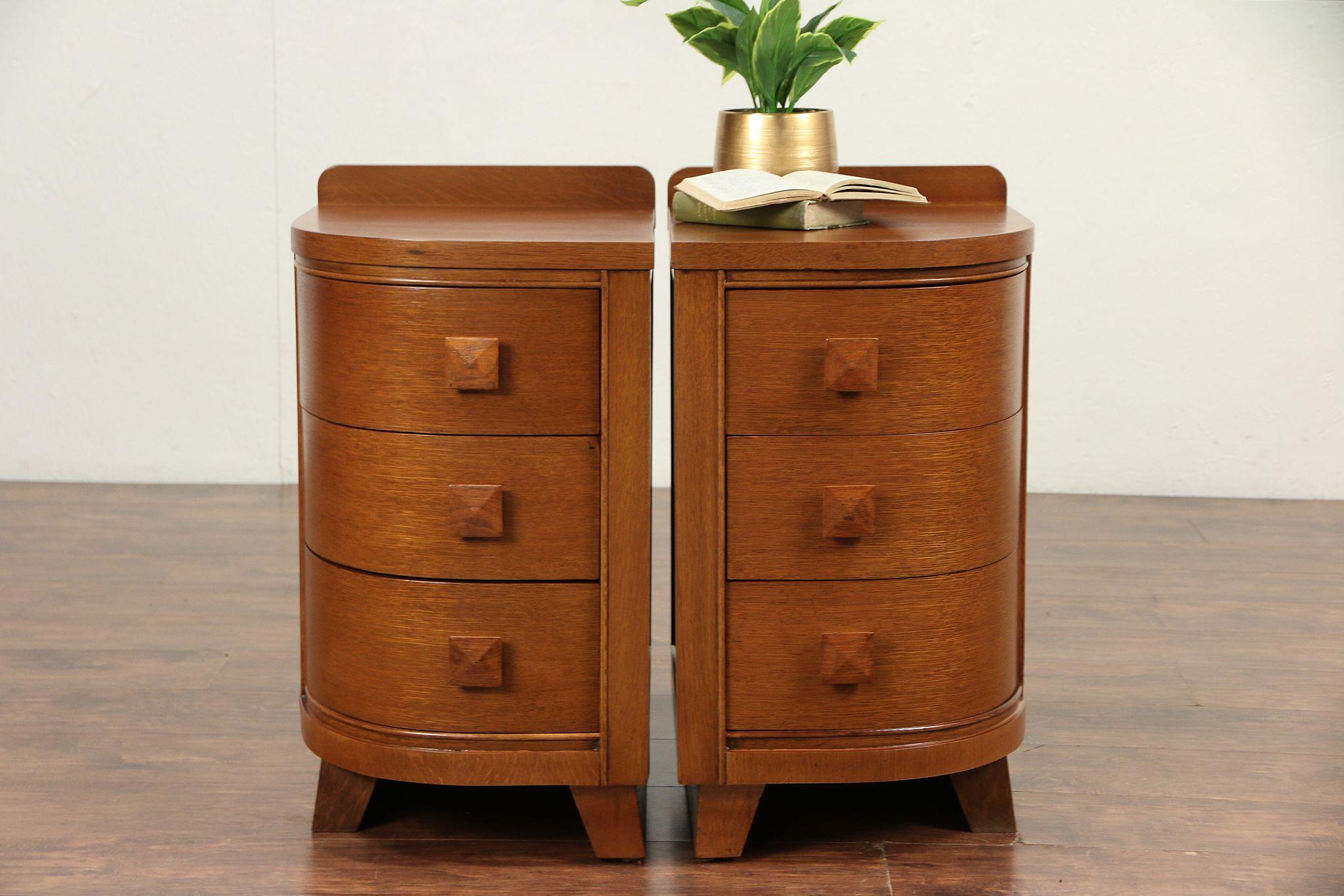 Sold Pair Of Midcentury Modern Oak 1960 Vintage Nightstands Or End Tables 29573 Harp Gallery Antiques Furniture