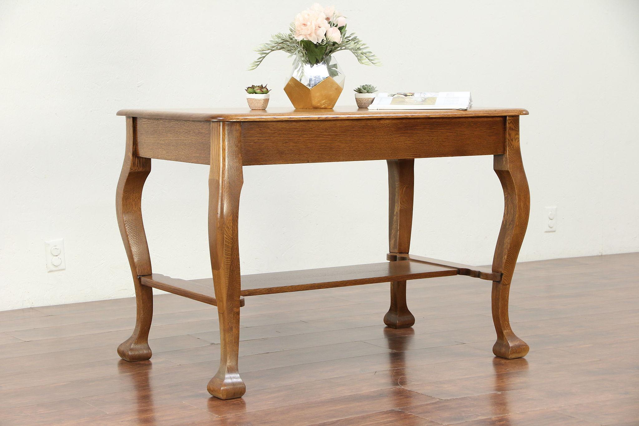 Quarter Sawn Oak Antique Library Table